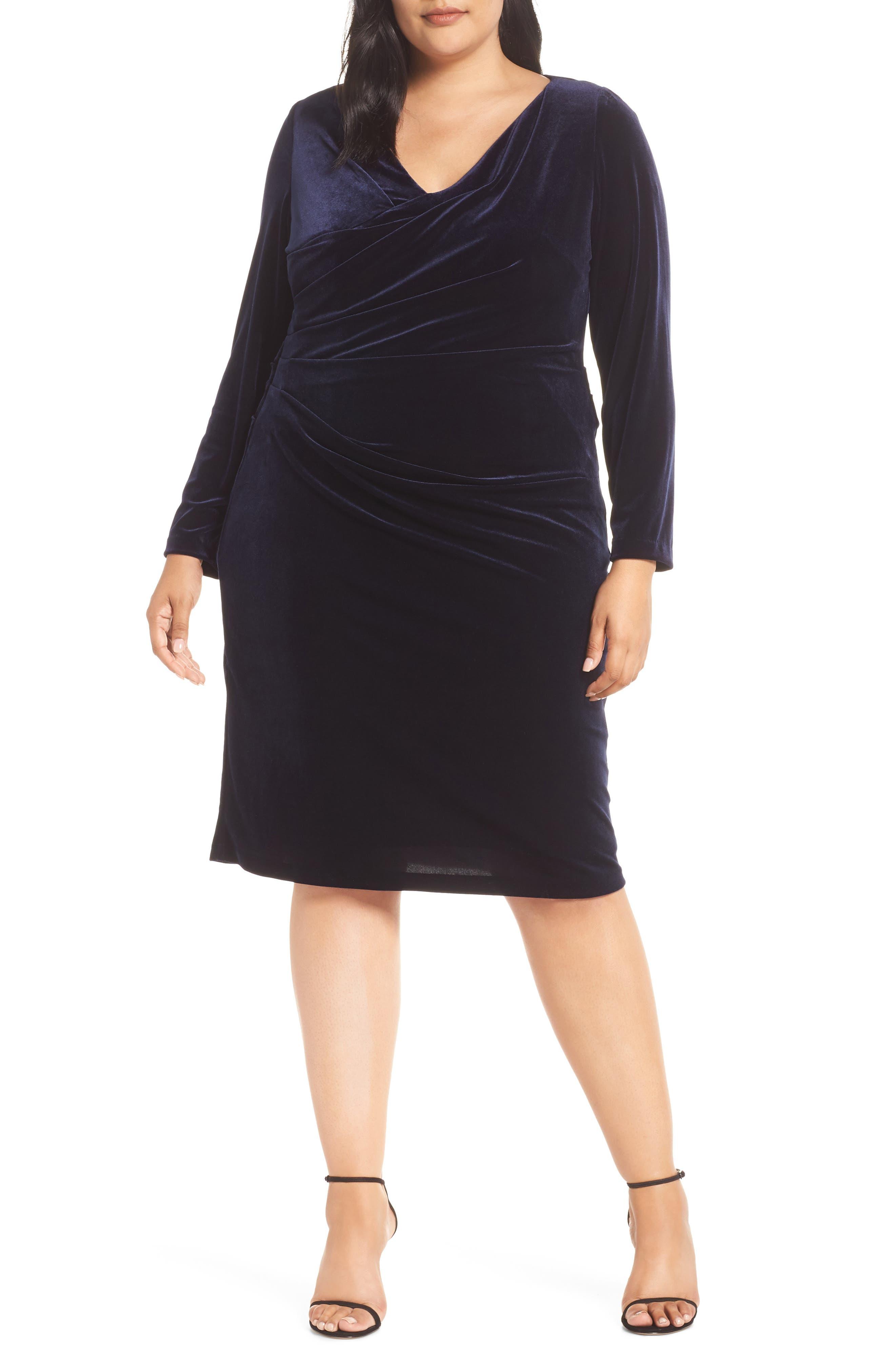 Midi Dress,                             Main thumbnail 1, color,                             NAVY