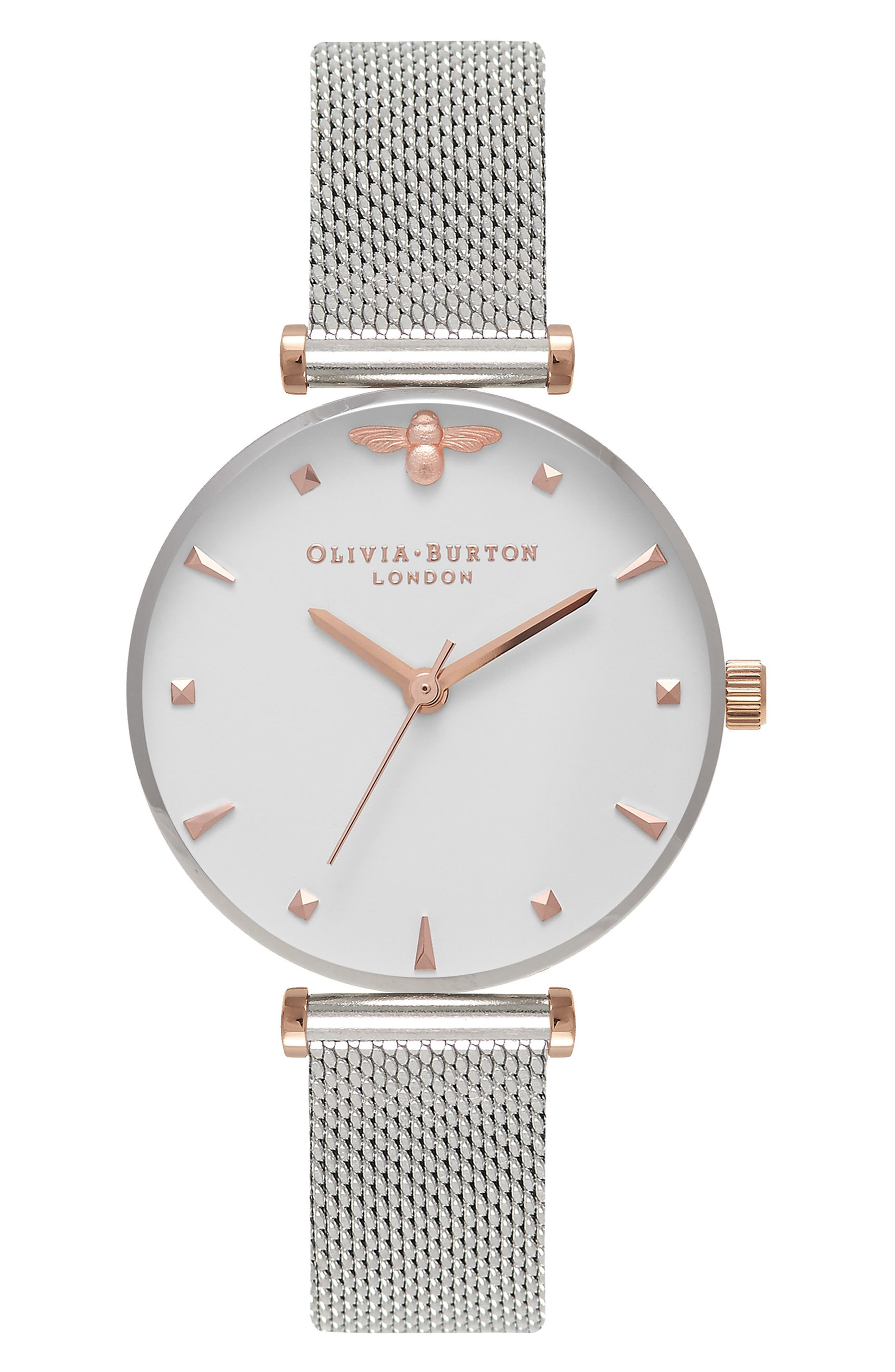 Queen Bee Mesh Strap Watch, 30mm,                             Main thumbnail 1, color,                             SILVER/ WHITE/ SILVER