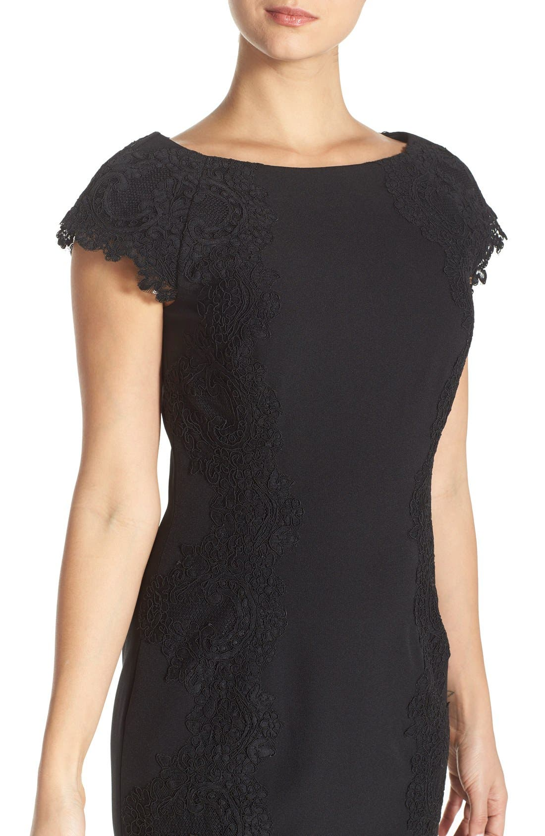 Lace Detail Crepe Sheath Dress,                             Alternate thumbnail 3, color,                             BLACK