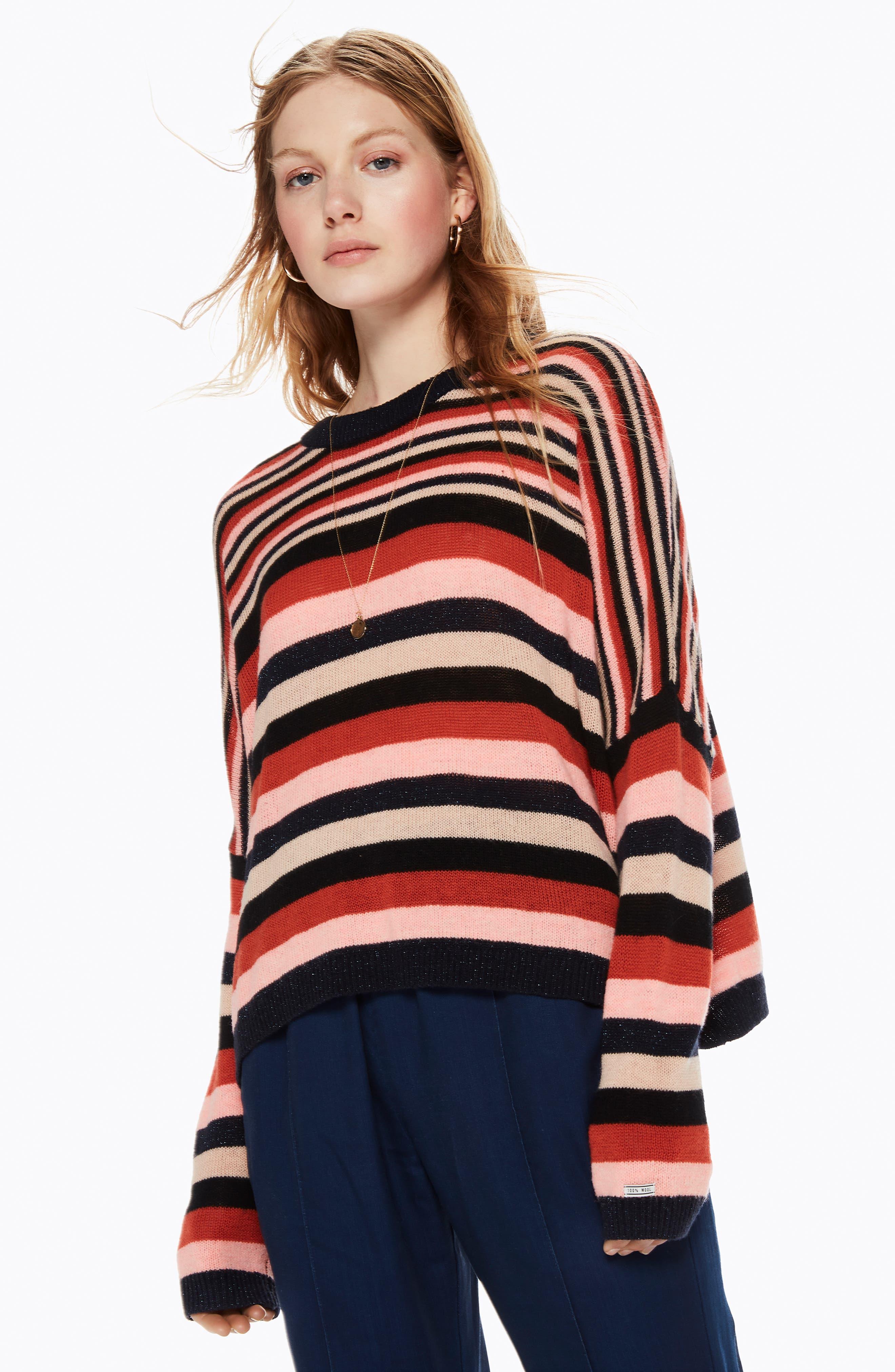 Stripe Sweater,                             Alternate thumbnail 9, color,                             PINK NAVY RUST STRIPE