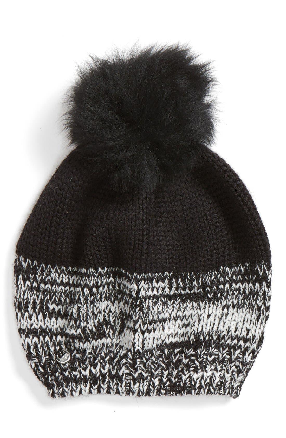 Australia Genuine Shearling Pom Marled Knit Beanie,                         Main,                         color, 001