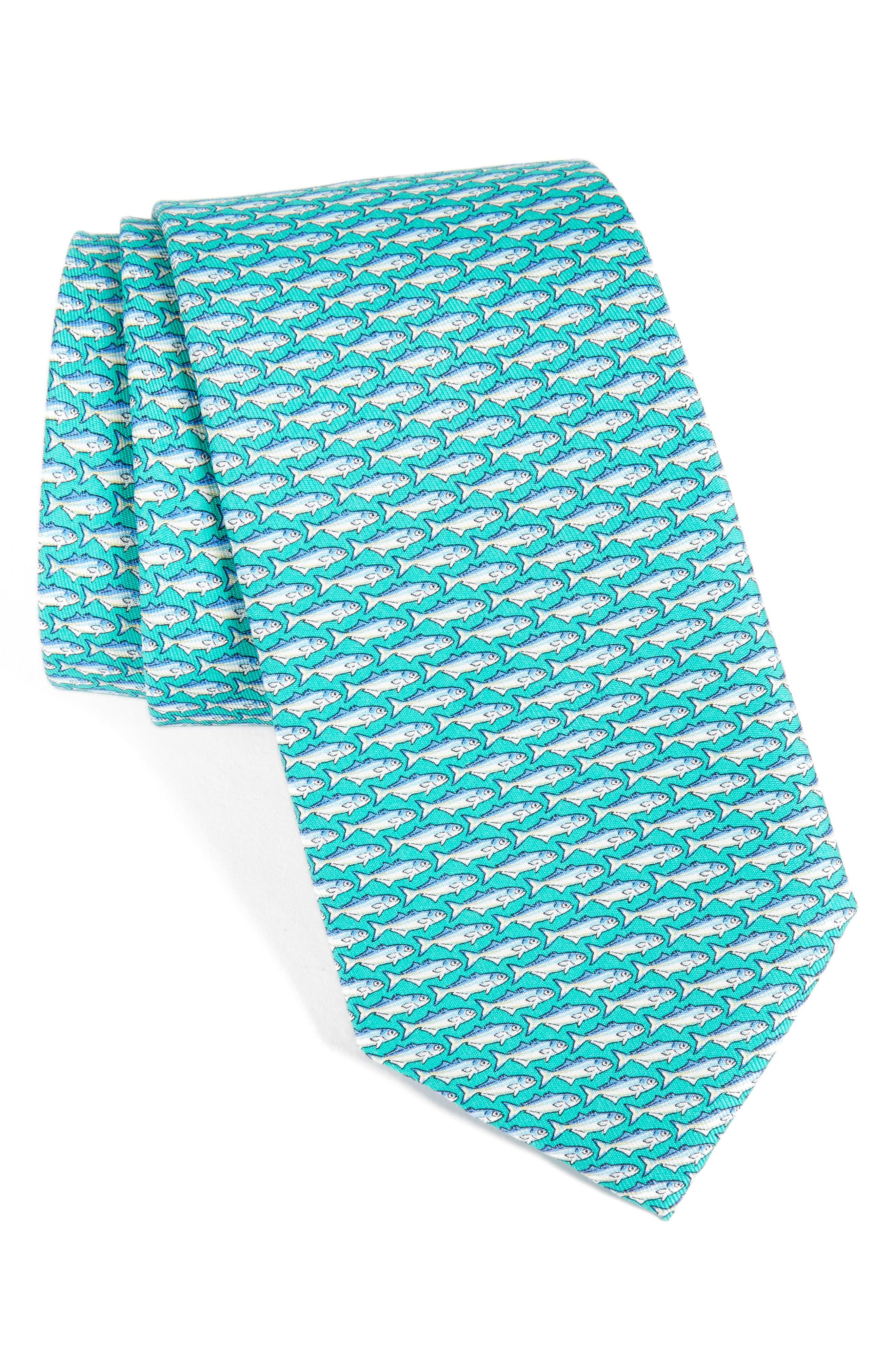Blue Fish Print Silk Tie,                             Main thumbnail 1, color,                             356