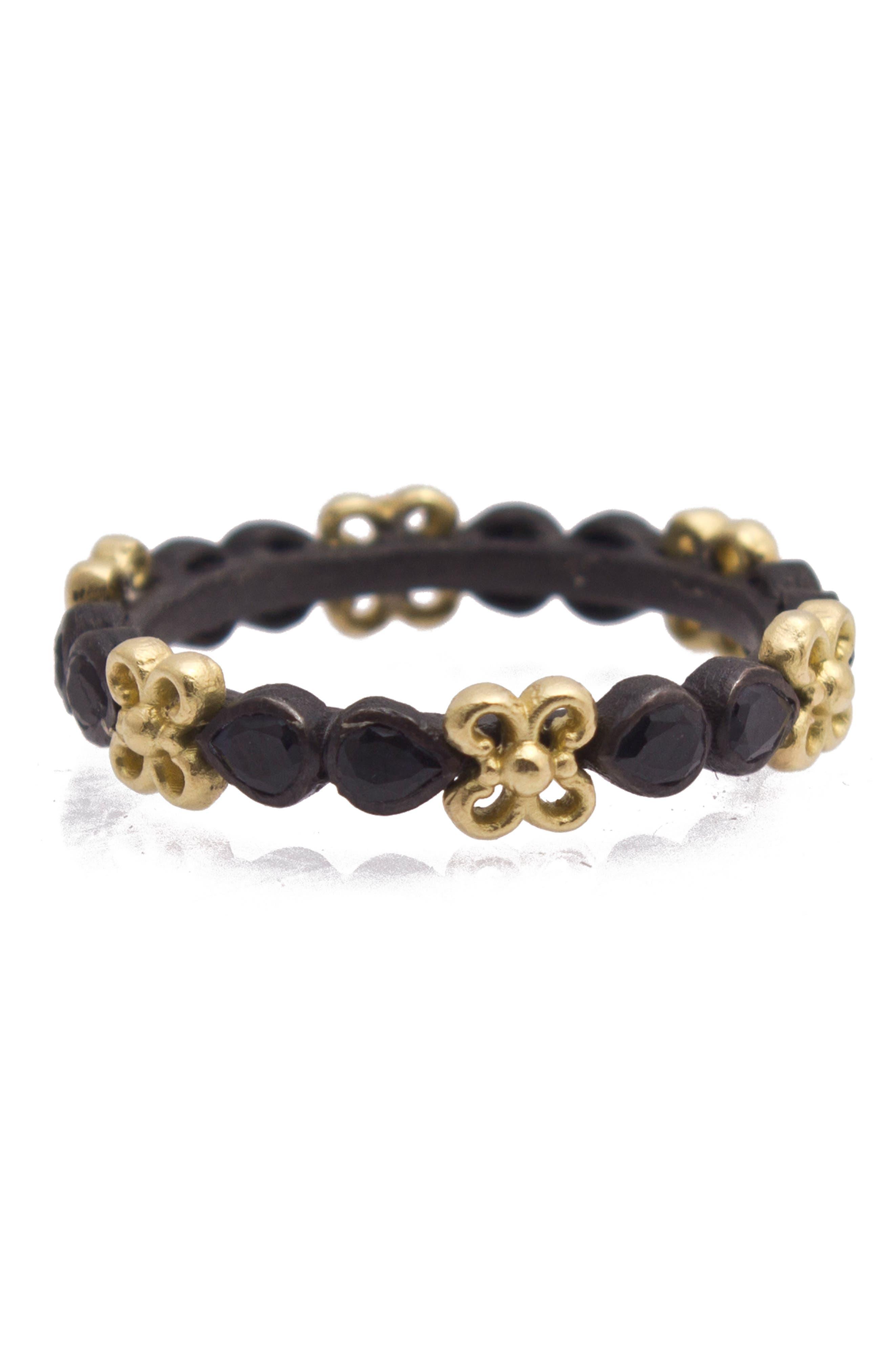 Old World Sapphire Band Ring,                             Main thumbnail 1, color,                             GOLD/ BLACK