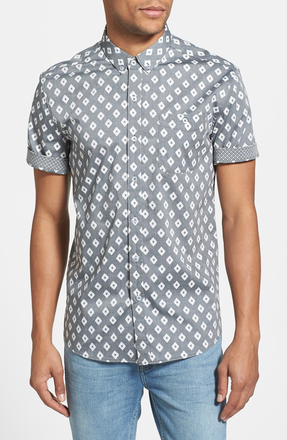 7 DIAMONDS 'Radio Clash' Short Sleeve Sport Shirt, Main, color, 001
