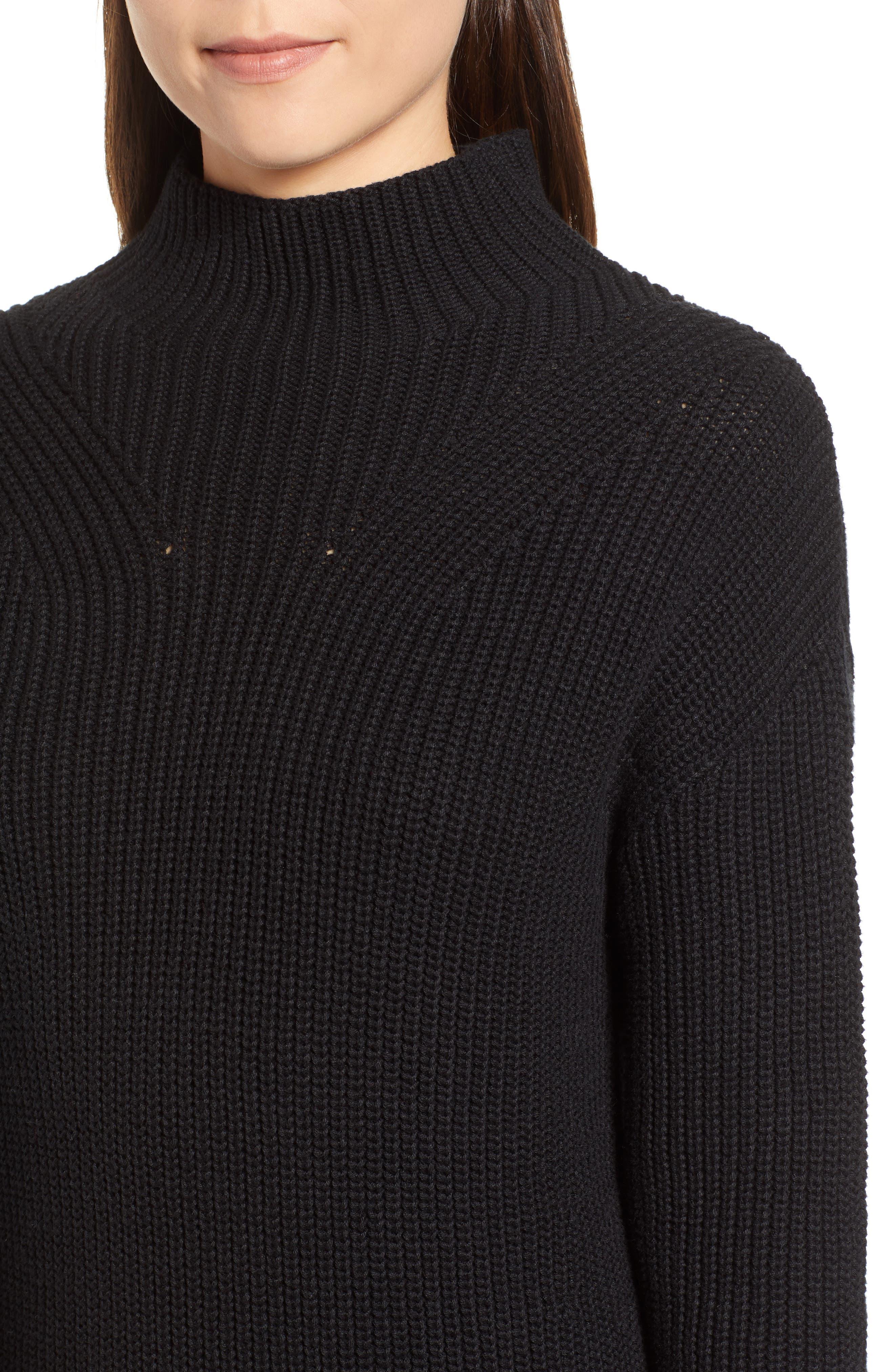 Ribbed Sweater Dress,                             Alternate thumbnail 4, color,                             BLACK