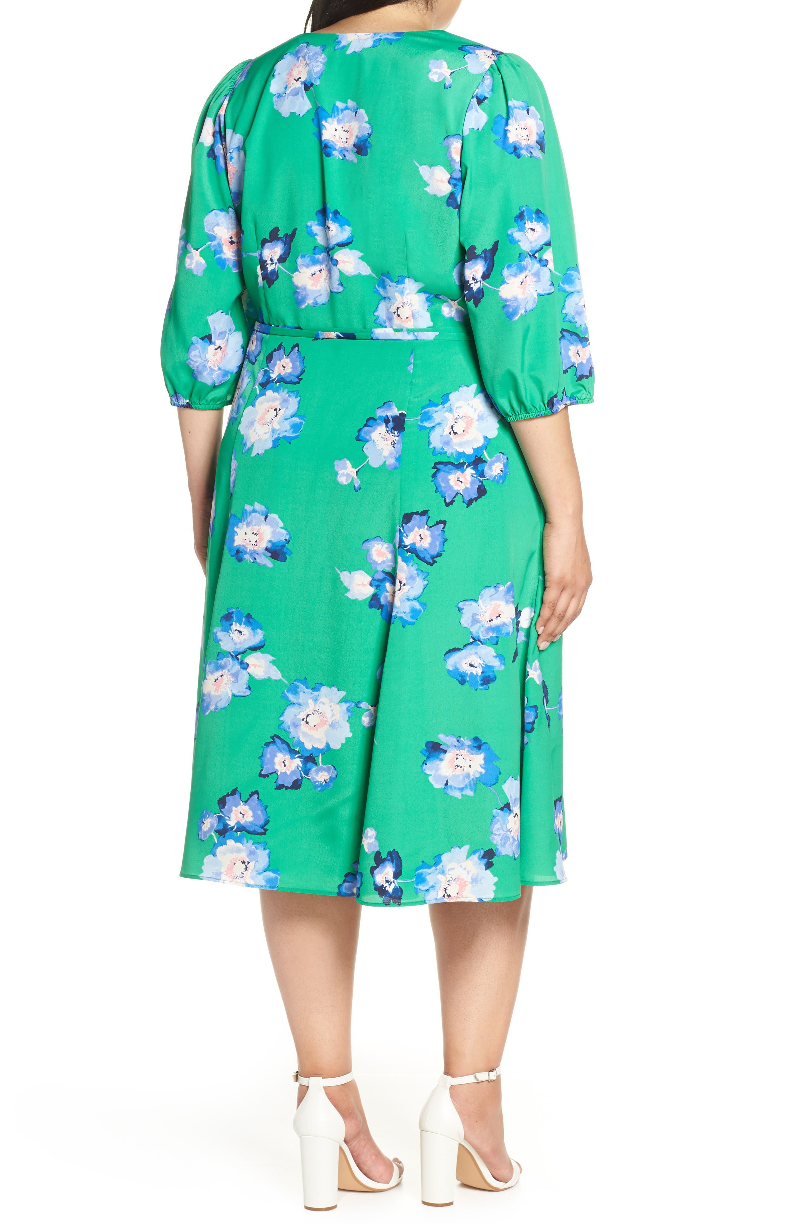Blouson Sleeve Wrap Midi Dress,                             Alternate thumbnail 2, color,                             GREEN