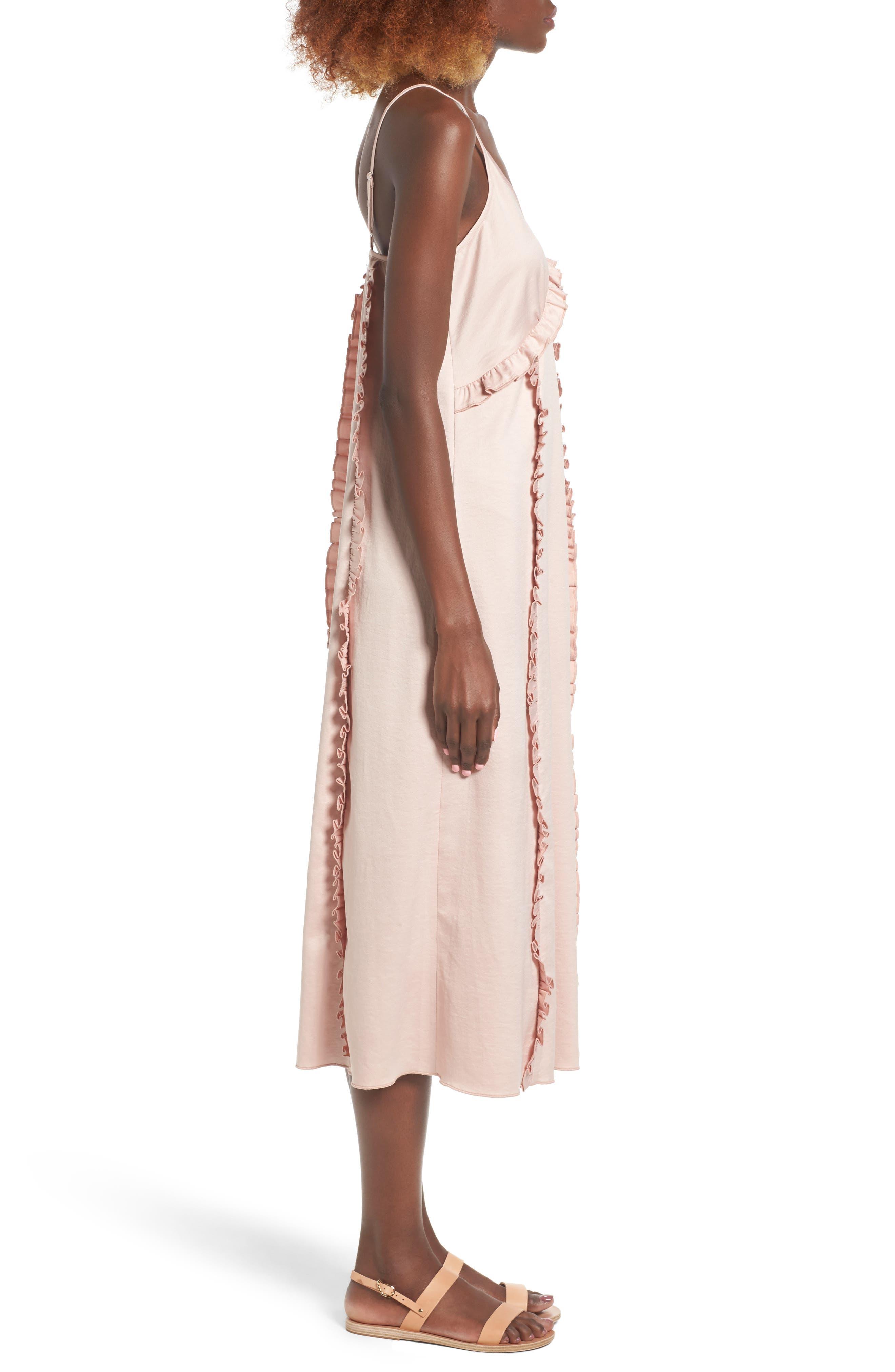 Ruffle Midi Dress,                             Alternate thumbnail 3, color,                             650