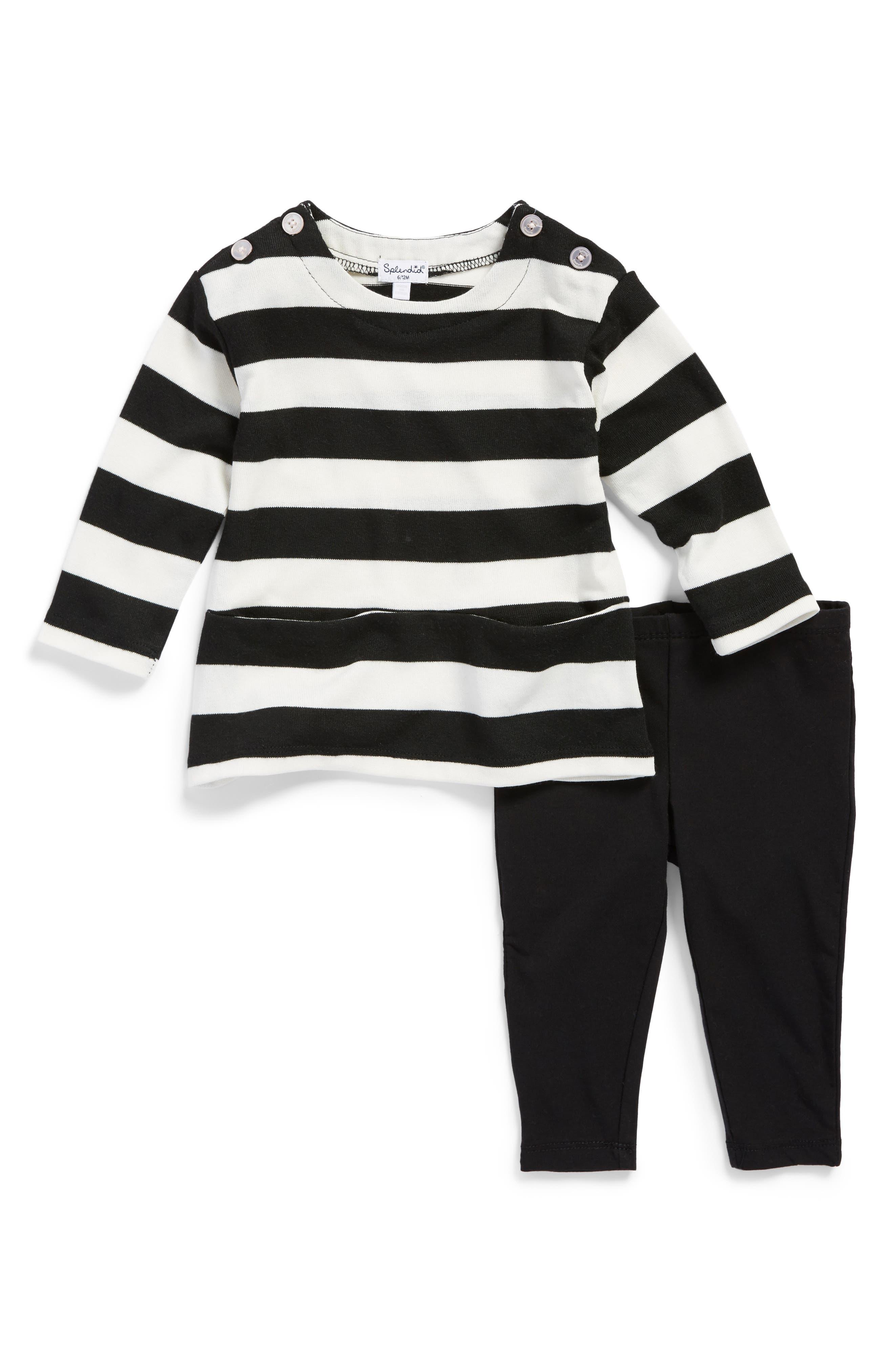 Stripe Top & Leggings Set,                         Main,                         color, 010