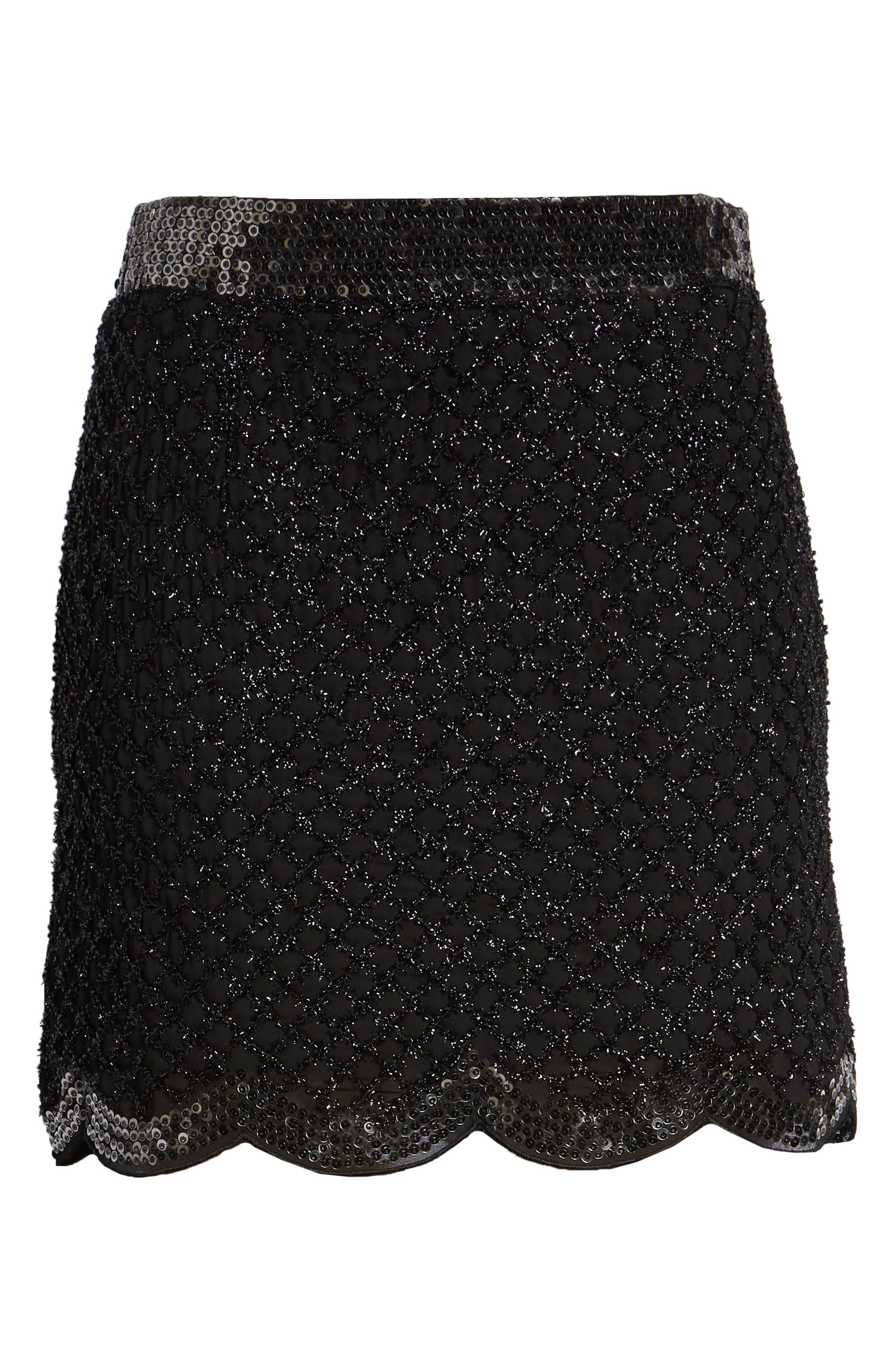 Sequin Scallop Hem Miniskirt,                             Alternate thumbnail 6, color,                             001