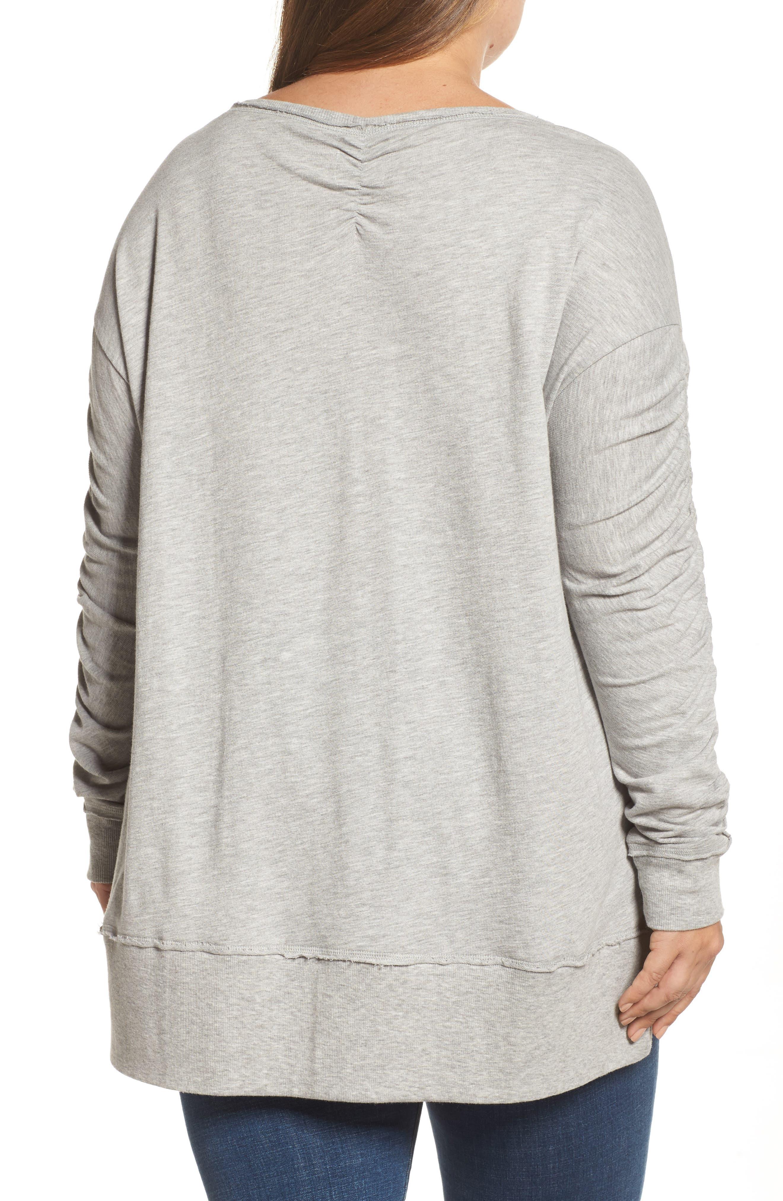 Scrunch Sleeve Sweatshirt,                             Alternate thumbnail 2, color,                             030