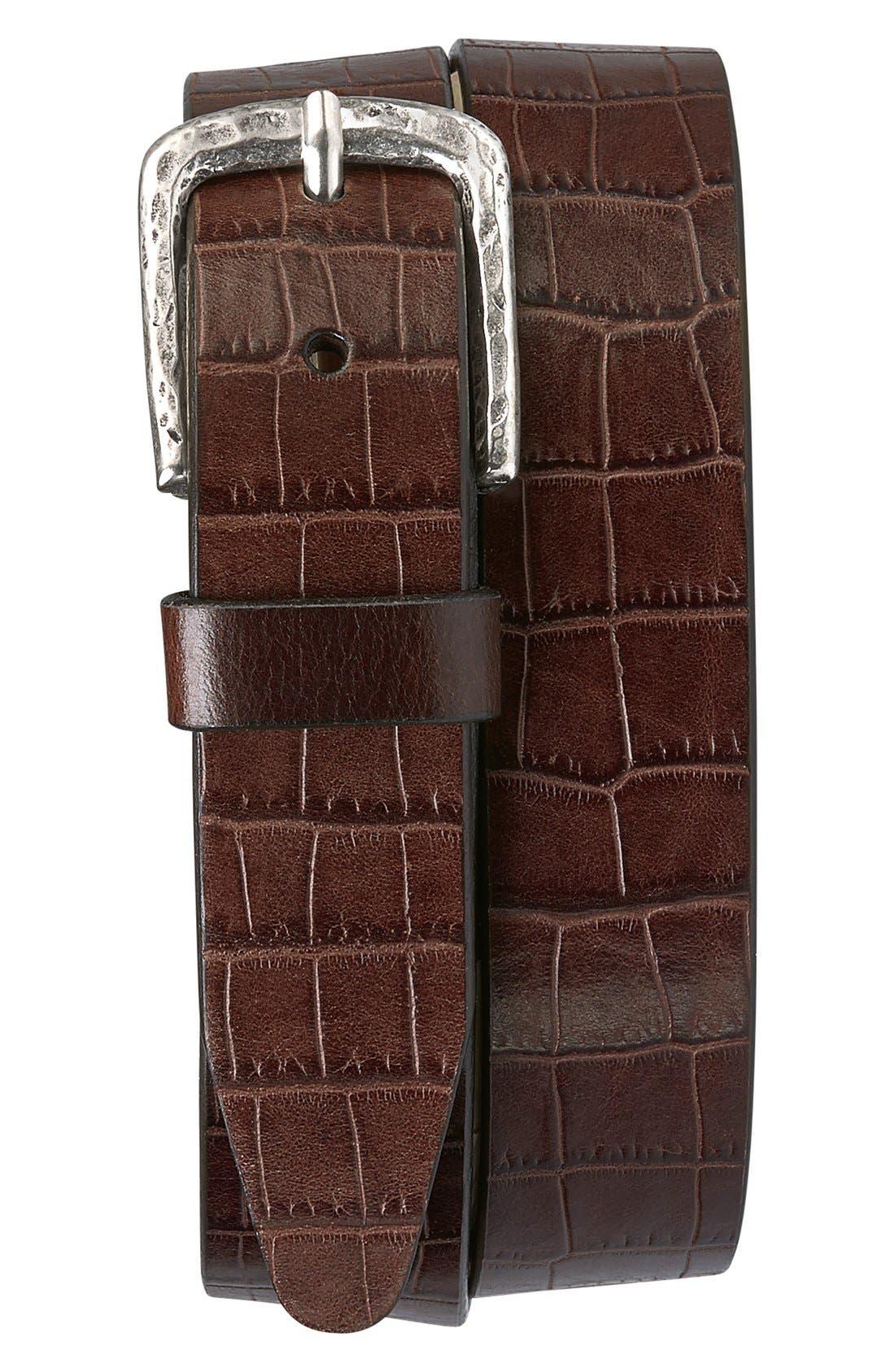 'Rex' Croc Embossed American Steer Leather Belt,                             Main thumbnail 1, color,                             DARK BROWN