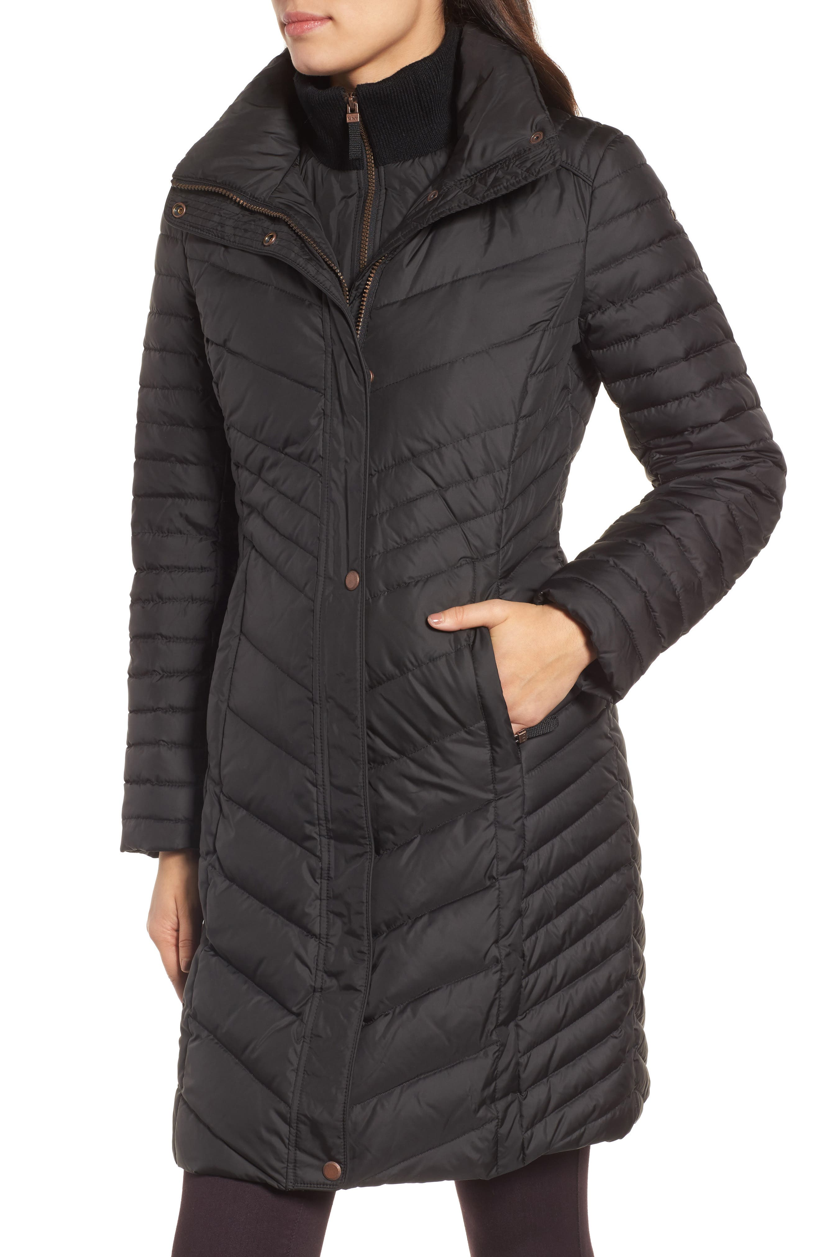 Chevron Quilted Coat with Genuine Coyote Fur Trim,                             Alternate thumbnail 10, color,