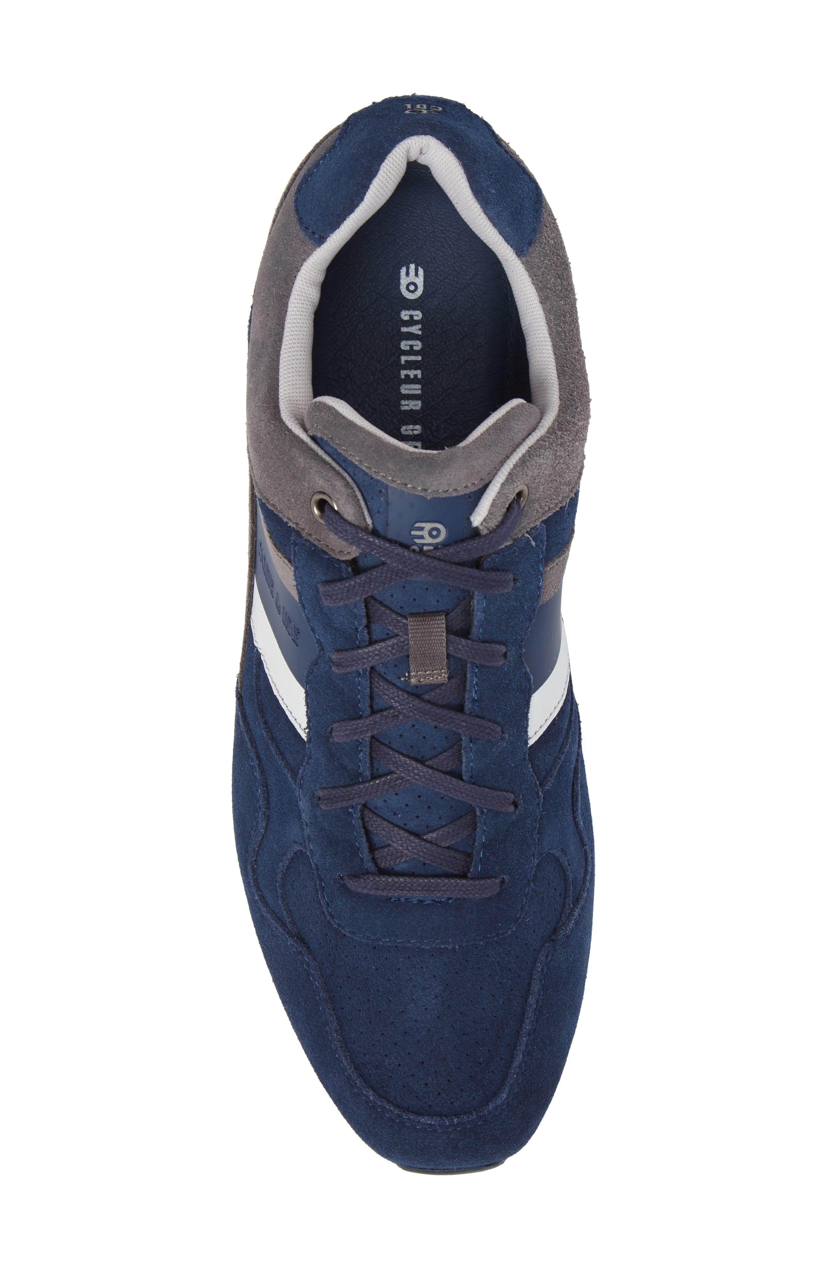 Scarpo Low Top Sneaker,                             Alternate thumbnail 5, color,                             NAVY SUEDE