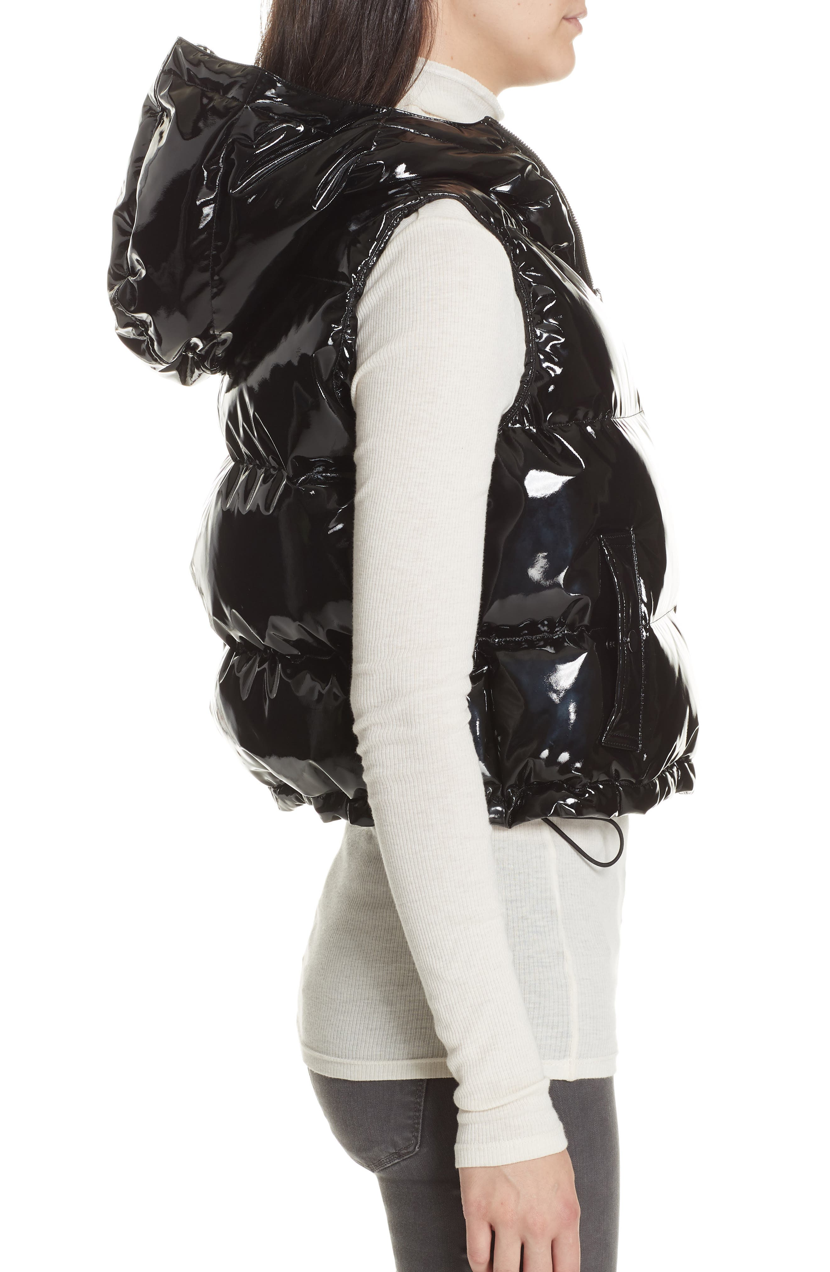 Shrunken Patent Puffer Vest,                             Alternate thumbnail 3, color,                             BLACK