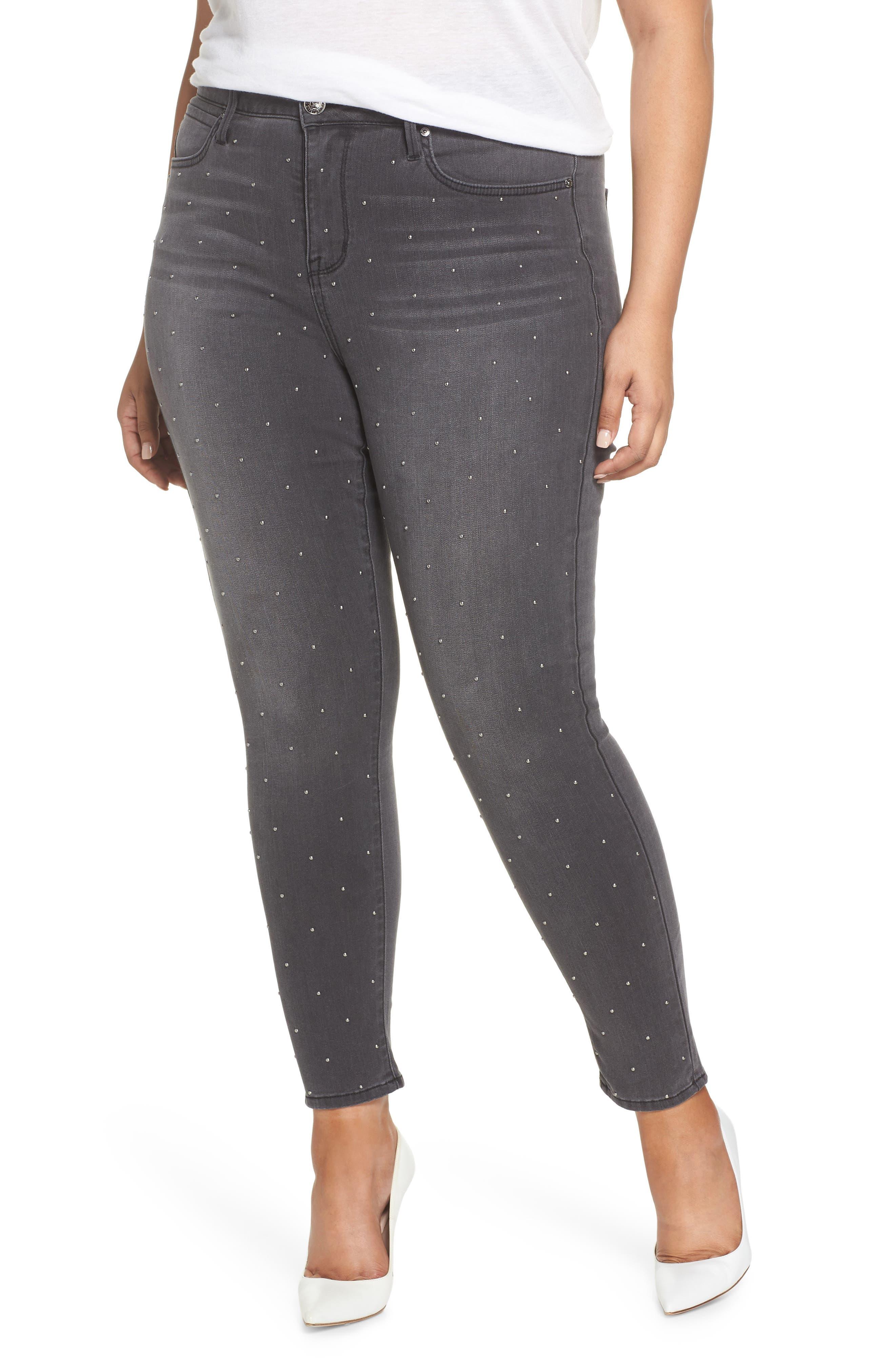 High Rise Lace Hem Skinny Jeans, Main, color, REVOLUTION