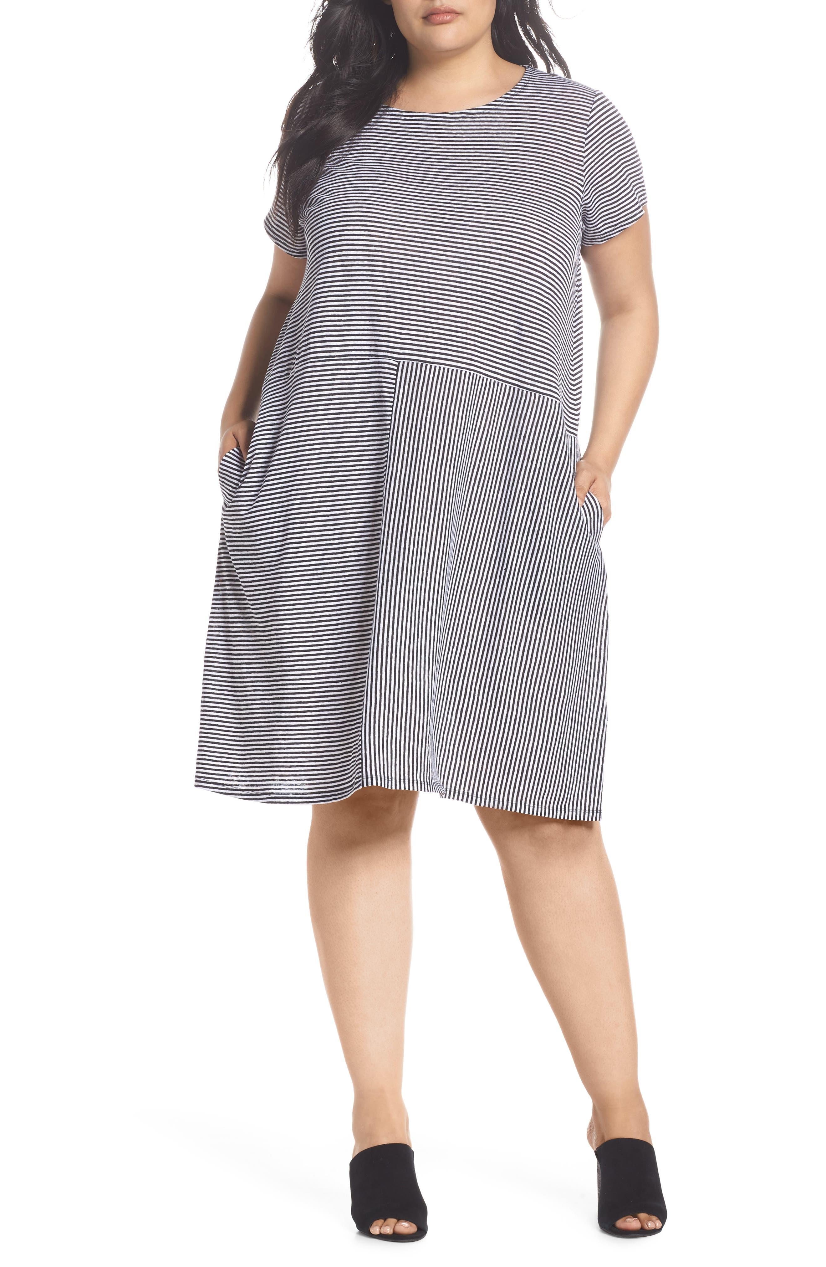 Stripe Organic Linen Jersey Shift Dress,                             Main thumbnail 1, color,                             018