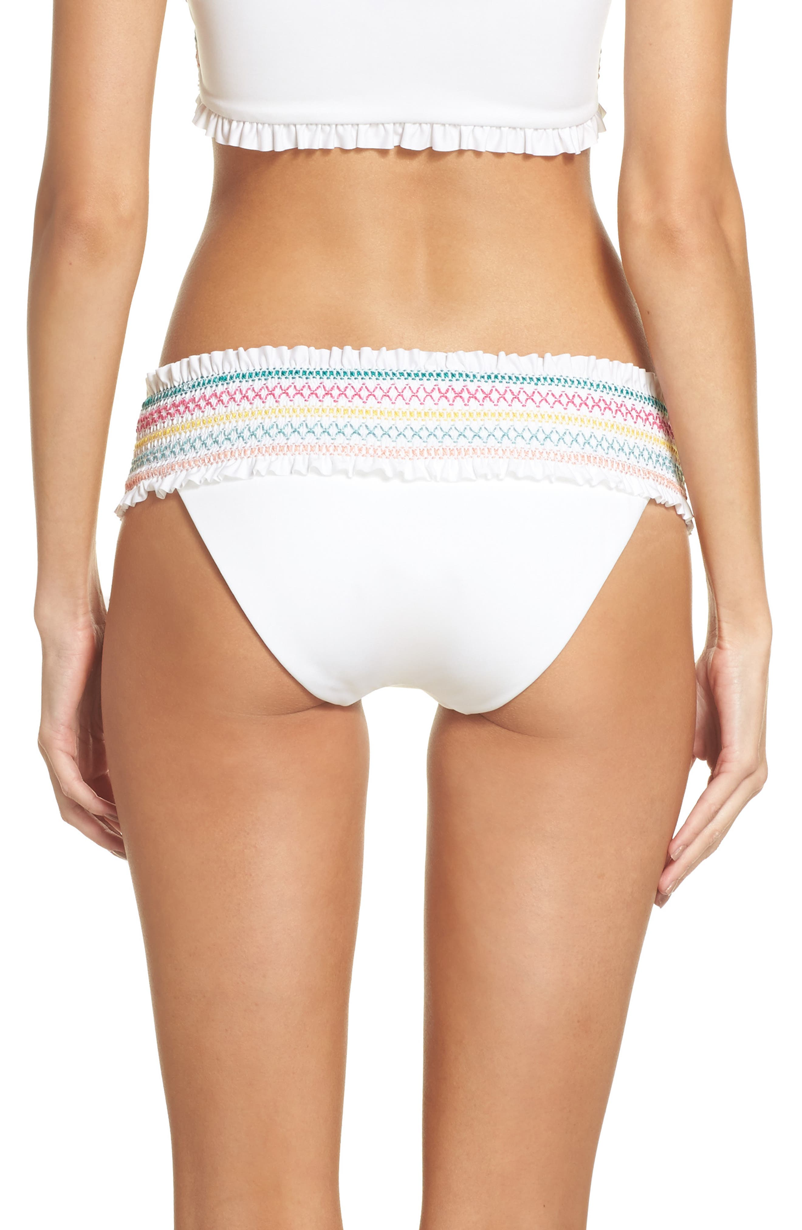 Crystal Cove Smocked Bikini Bottoms,                             Alternate thumbnail 2, color,                             100