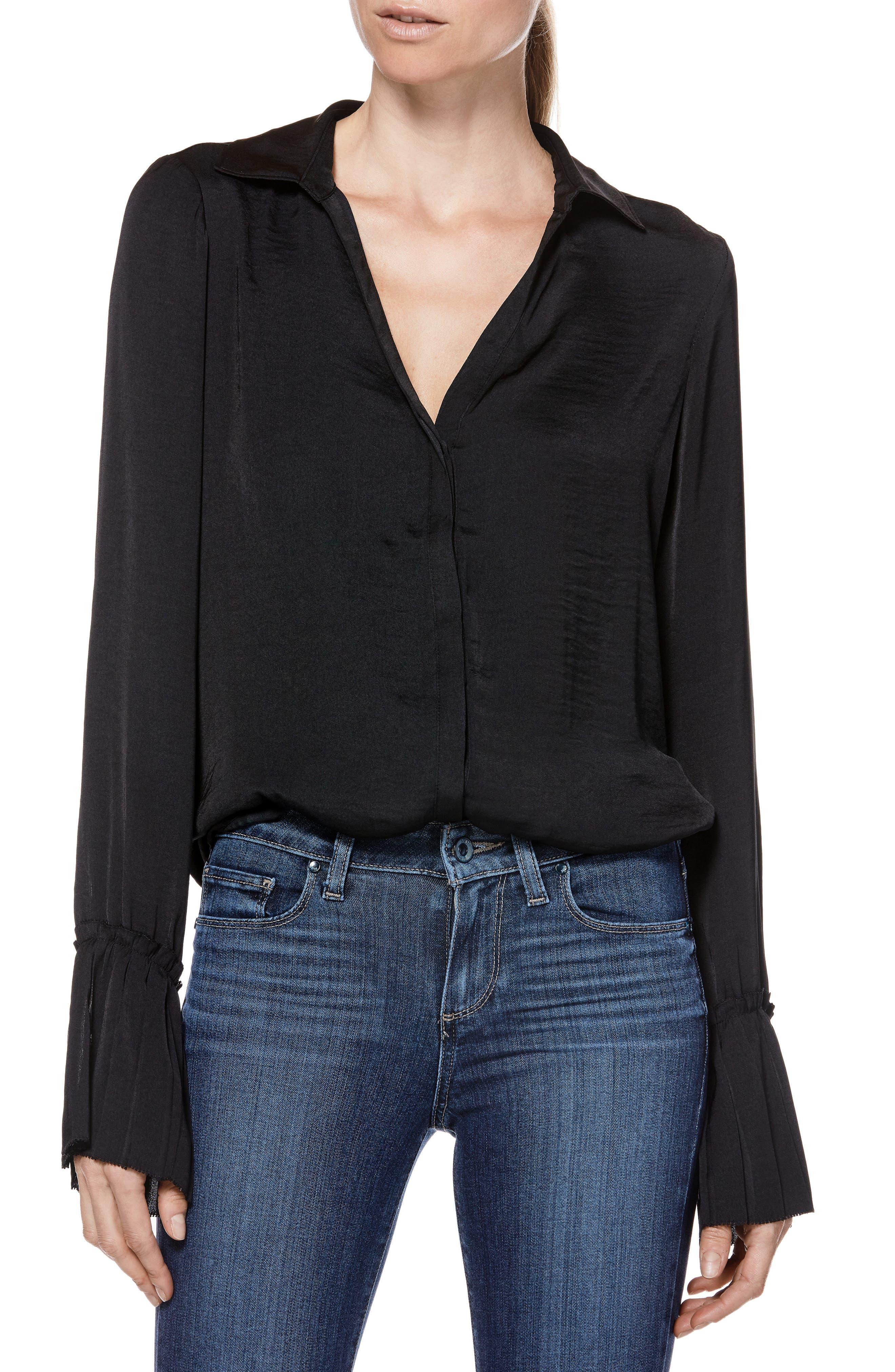 Abriana Shirt,                         Main,                         color, BLACK
