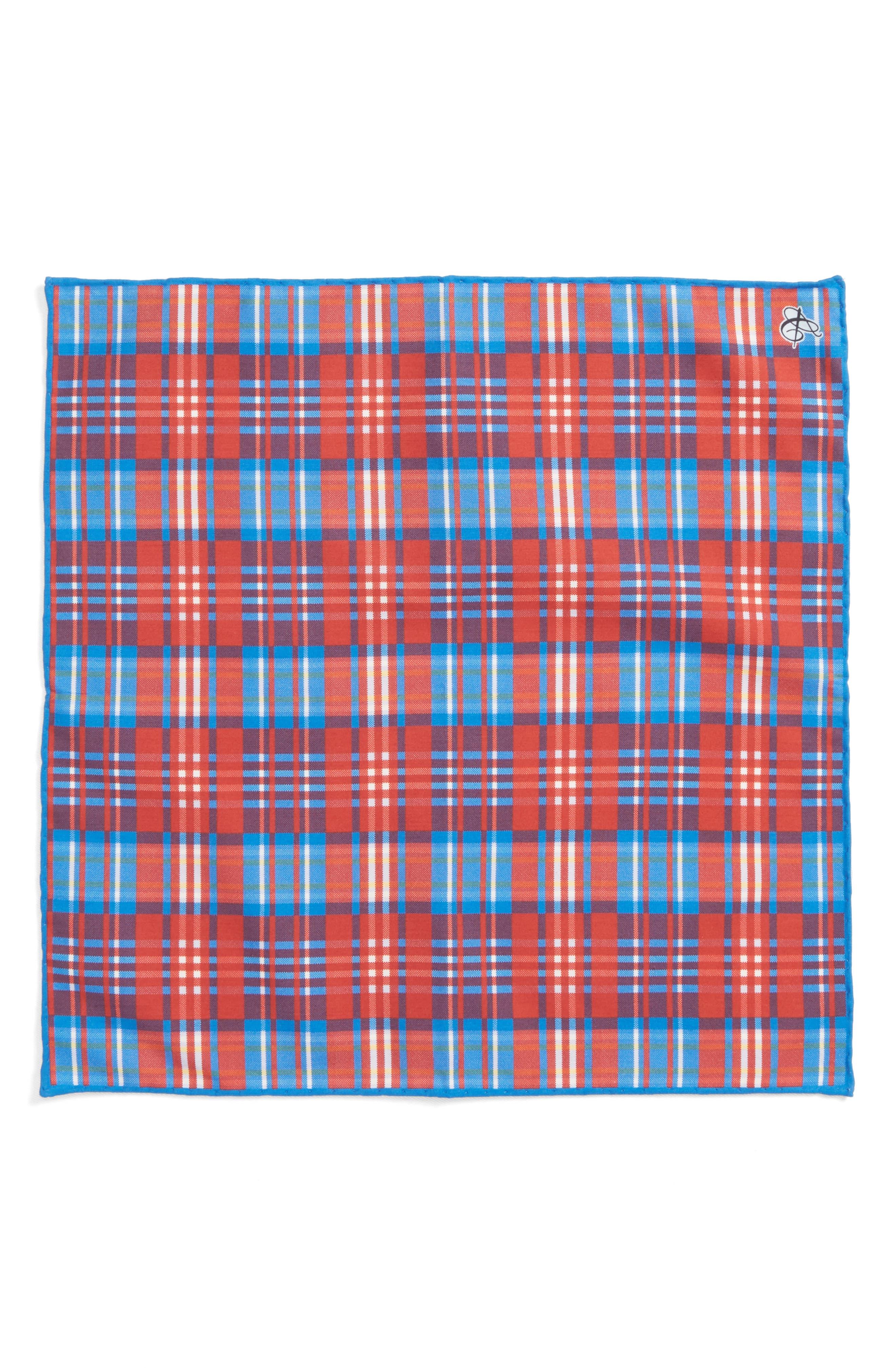 Plaid Cotton & Silk Pocket Square,                             Alternate thumbnail 2, color,                             600