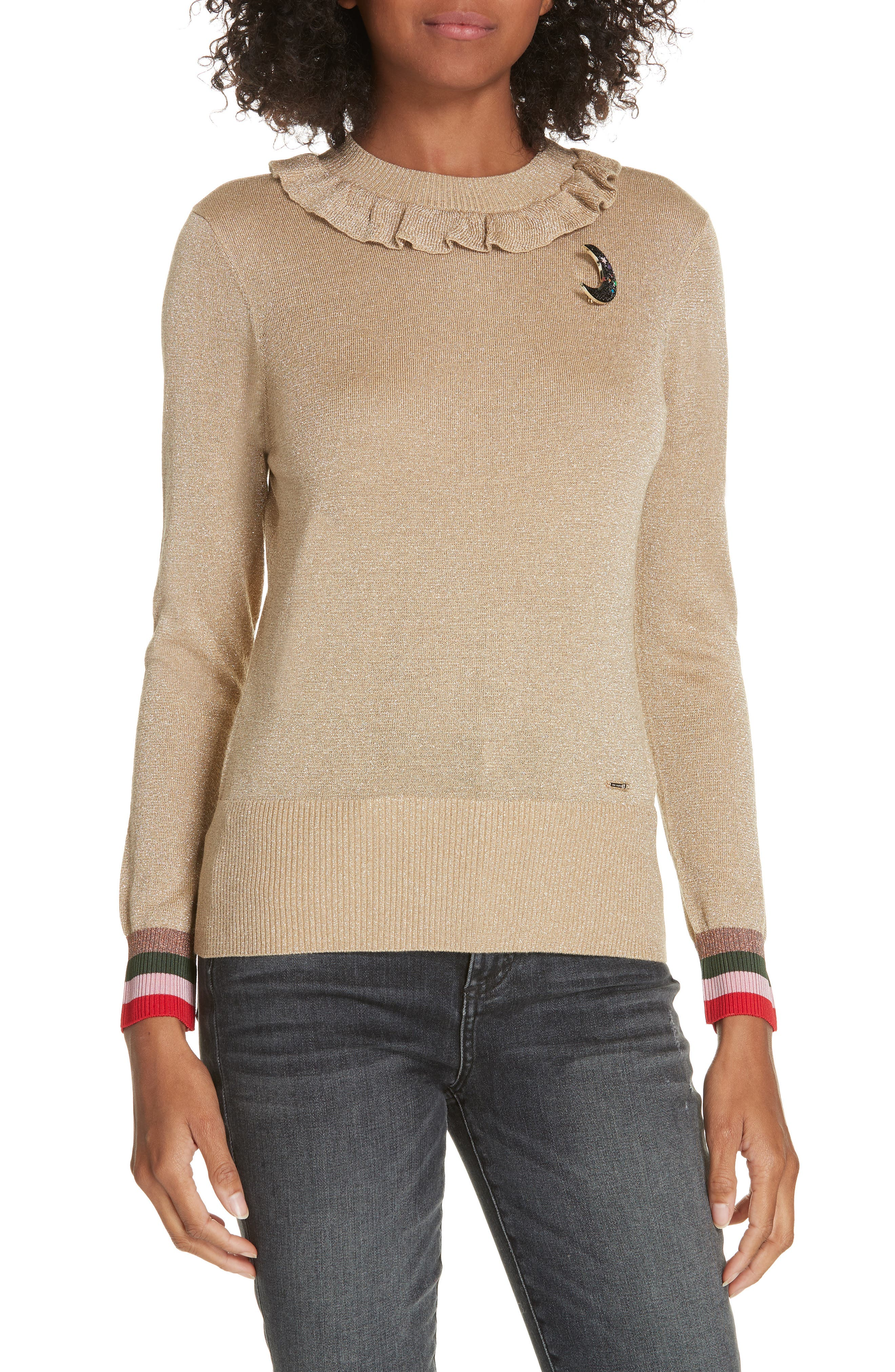 Colour by Numbers Hawen Metallic Knit Sweater,                         Main,                         color, GOLD