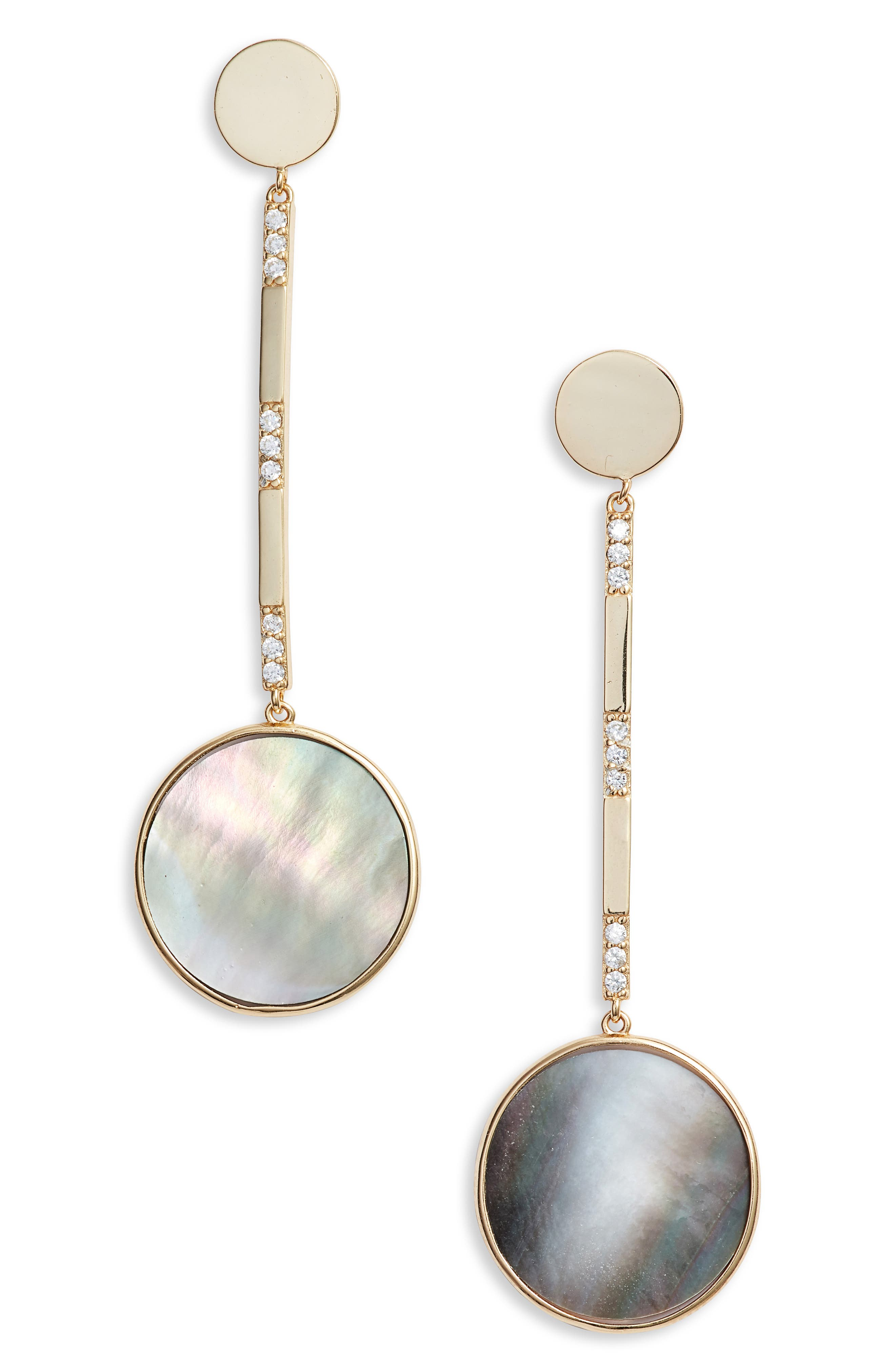 Mother of Pearl Circle Drop Earrings, Main, color, GOLD