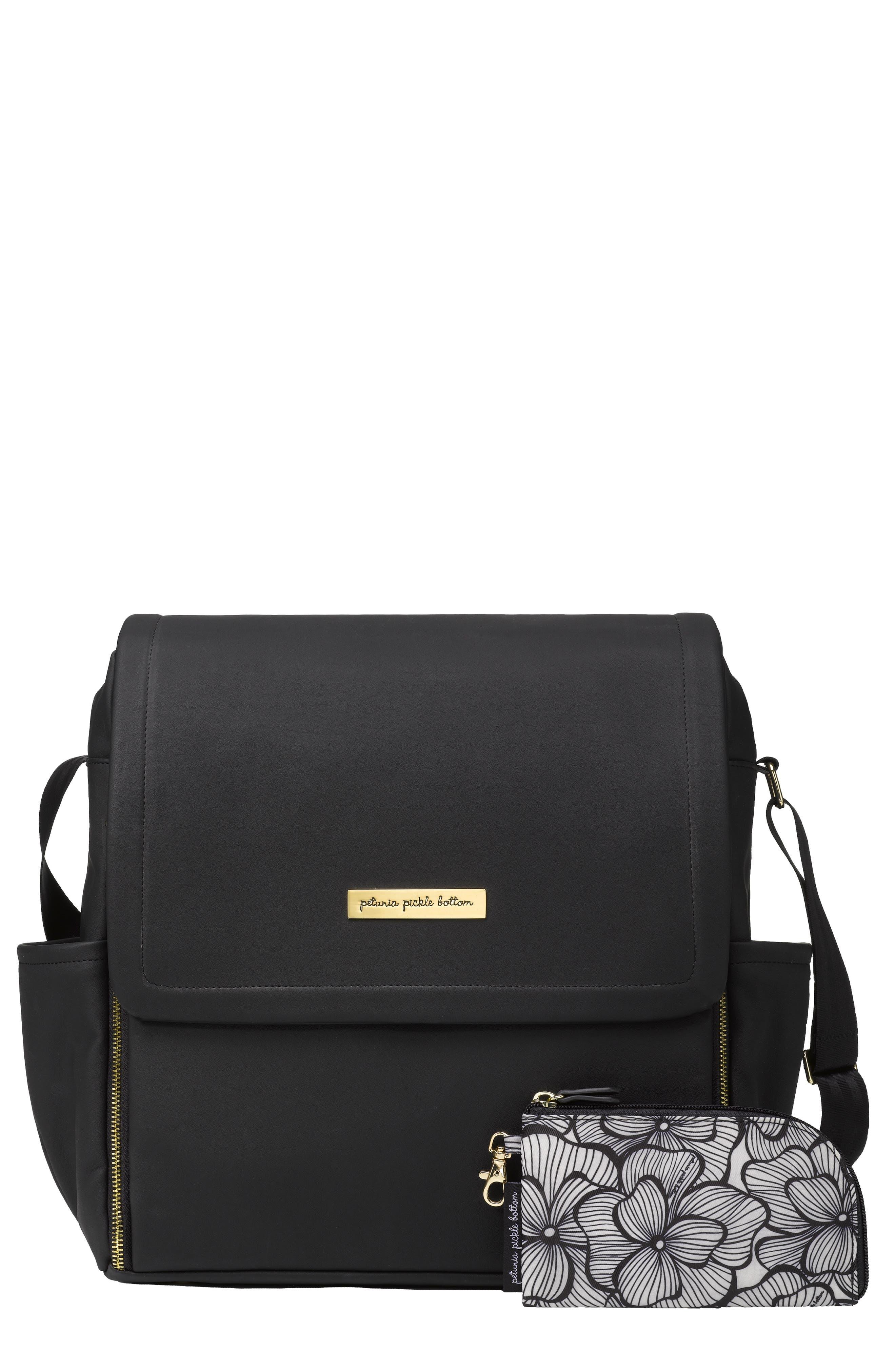 Boxy Backpack Diaper Bag,                         Main,                         color, BLACK MATTE LEATHERETTE