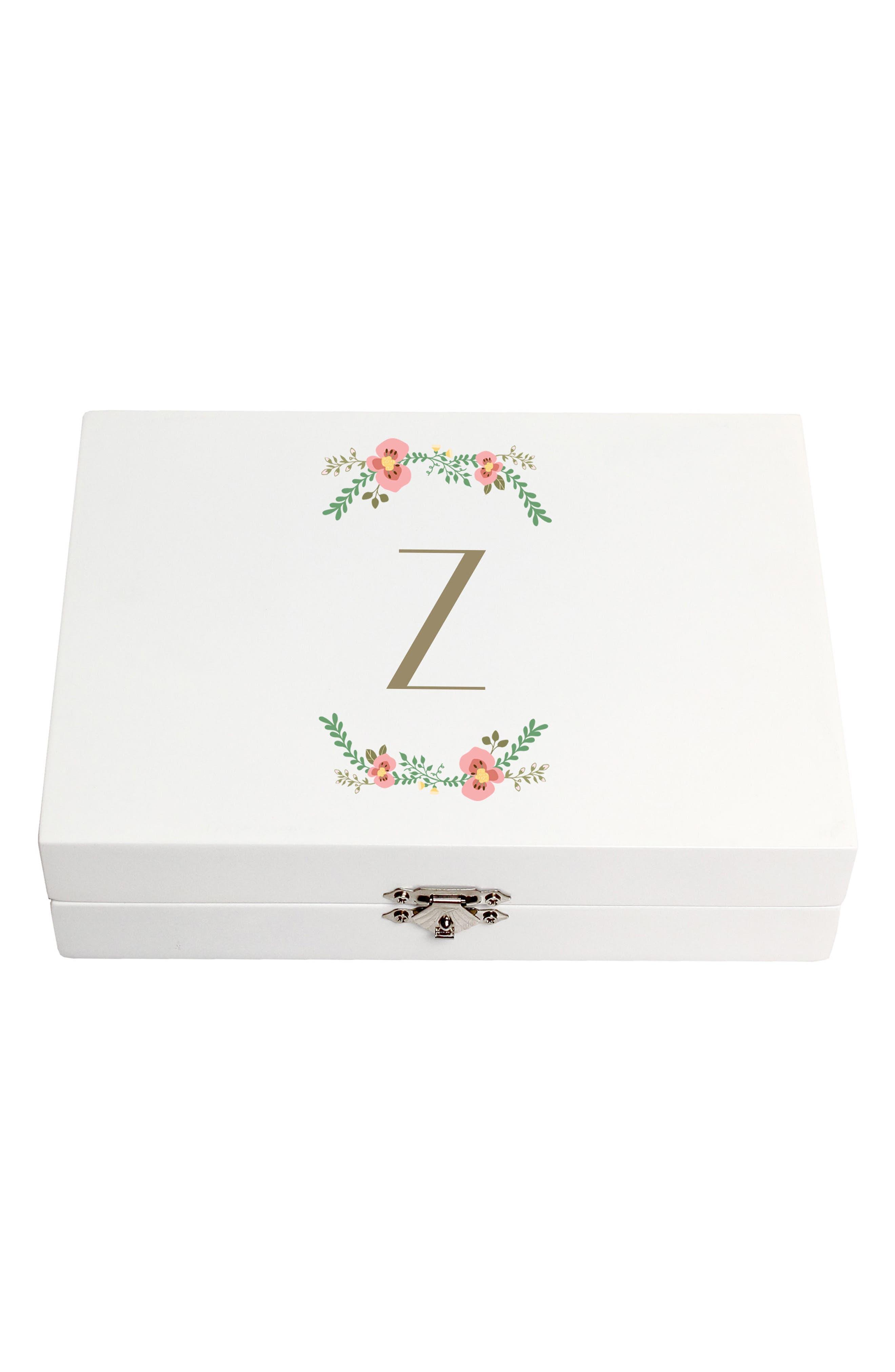 Monogram Floral Wedding Ring Box,                             Main thumbnail 26, color,