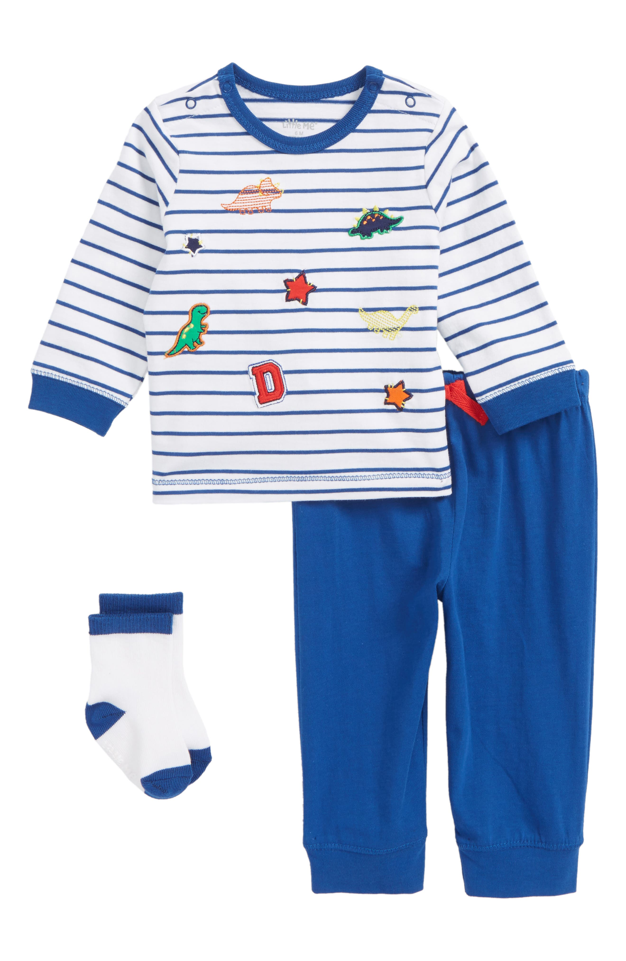 Patch T-Shirt, Jogger Pants & Socks Set,                         Main,                         color,