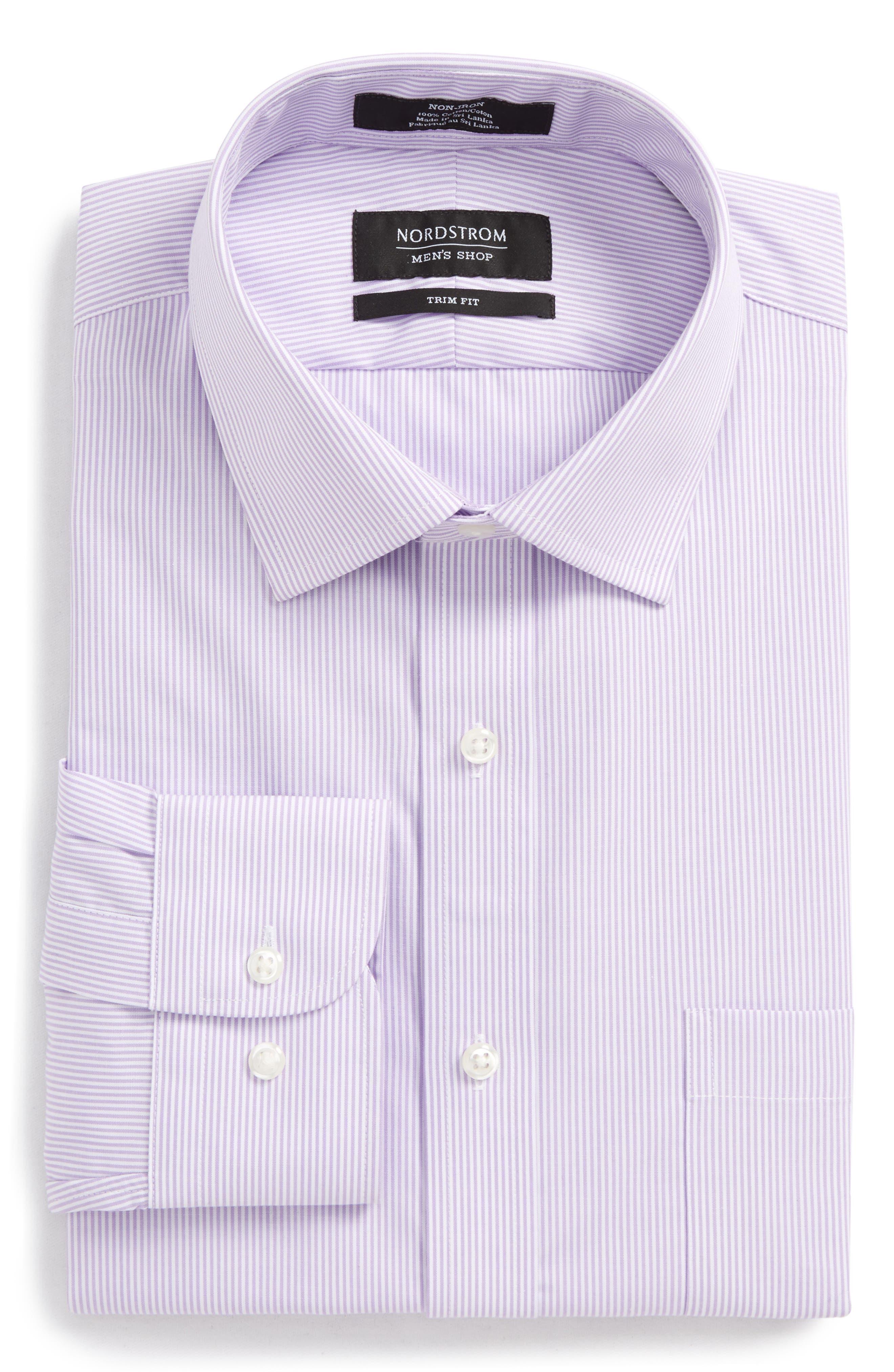 Trim Fit Non-Iron Stripe Dress Shirt,                             Alternate thumbnail 28, color,