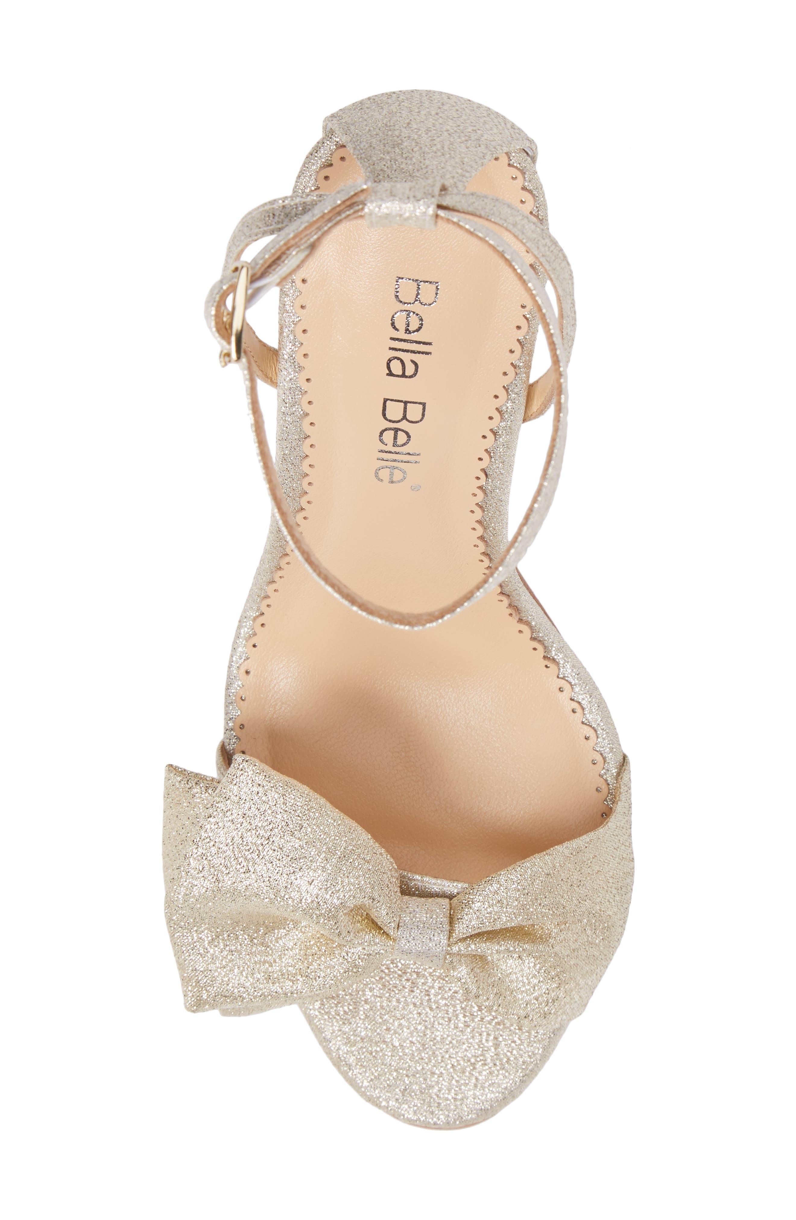 Aubrey Bow Ankle Strap Sandal,                             Alternate thumbnail 5, color,                             GOLD