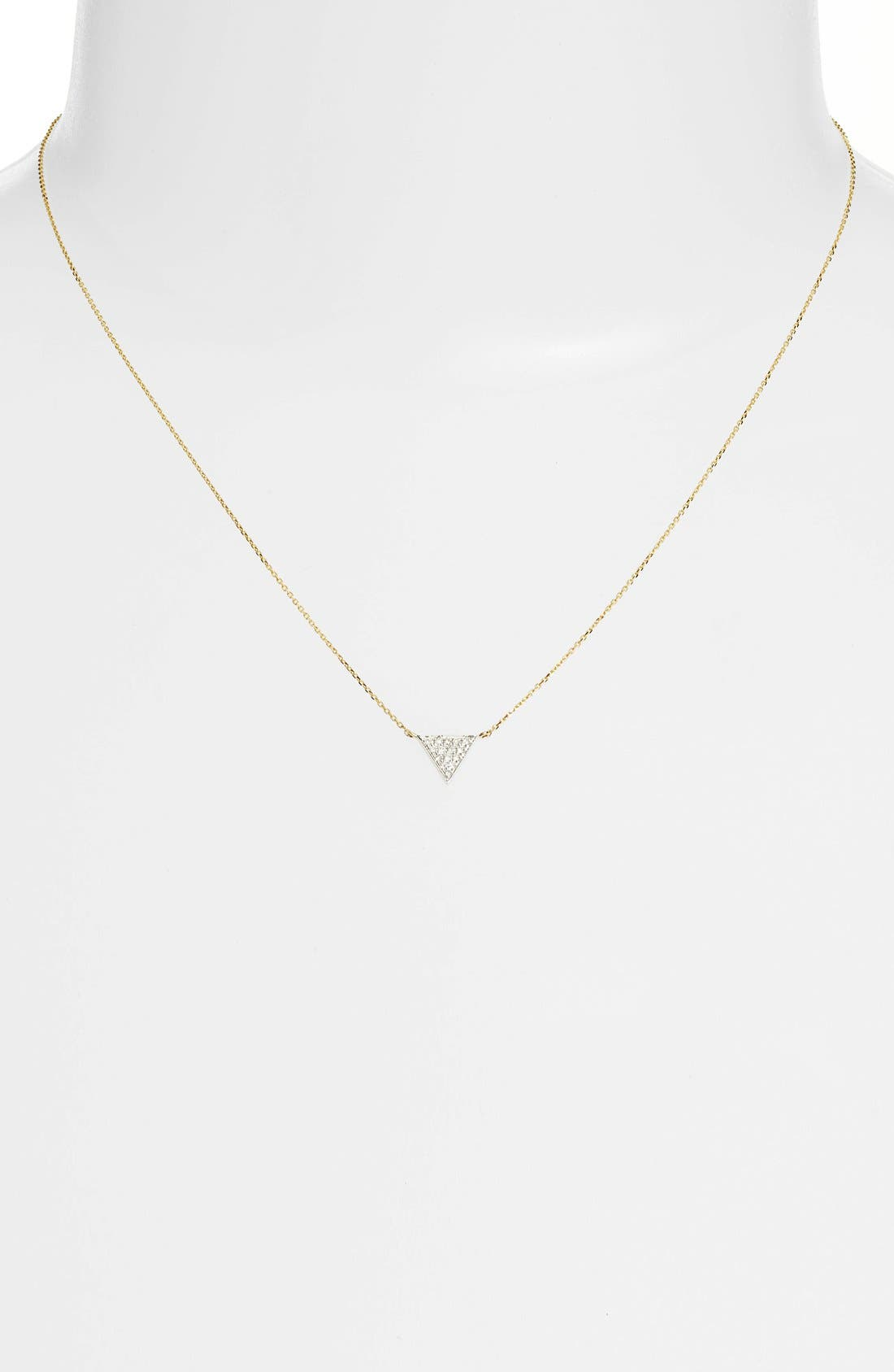 'Emily Sarah' Diamond Triangle Pendant Necklace,                             Alternate thumbnail 6, color,                             YELLOW GOLD