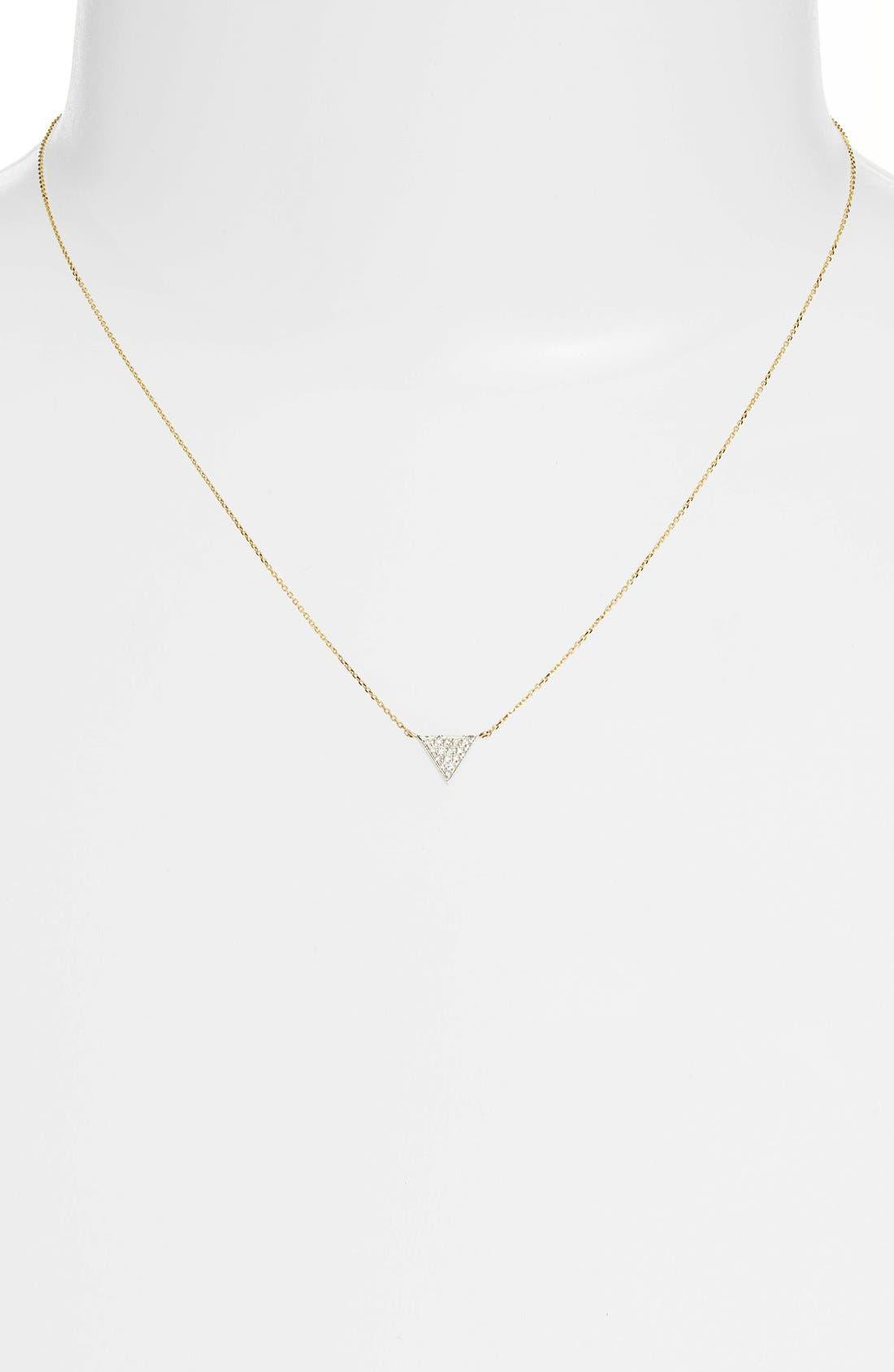 'Emily Sarah' Diamond Triangle Pendant Necklace,                             Alternate thumbnail 6, color,                             YELLOW GOLD