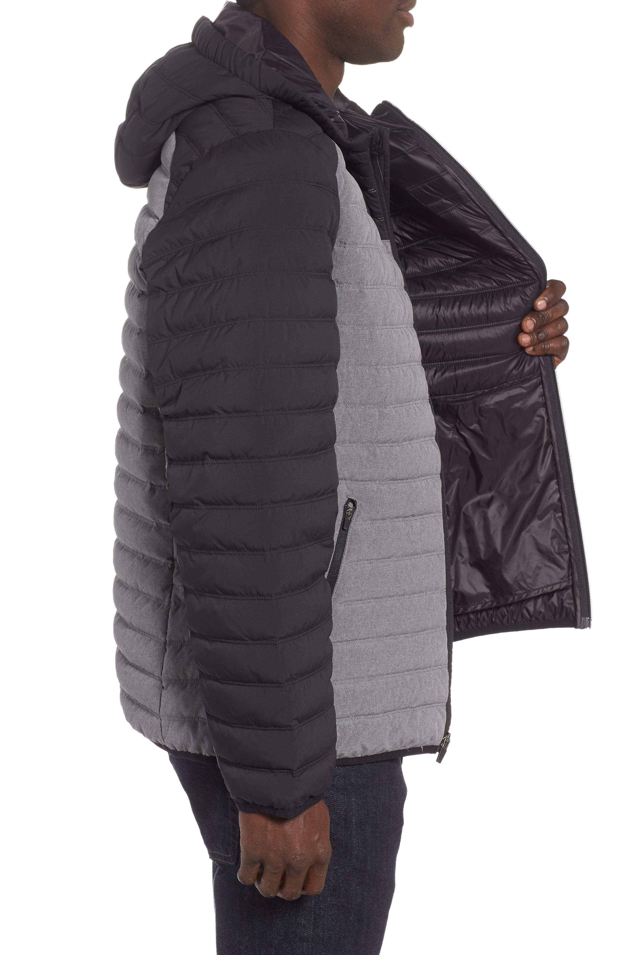 Hooded Water Resistant Down Jacket,                             Alternate thumbnail 3, color,                             BLACK GREY OBSIDIAN