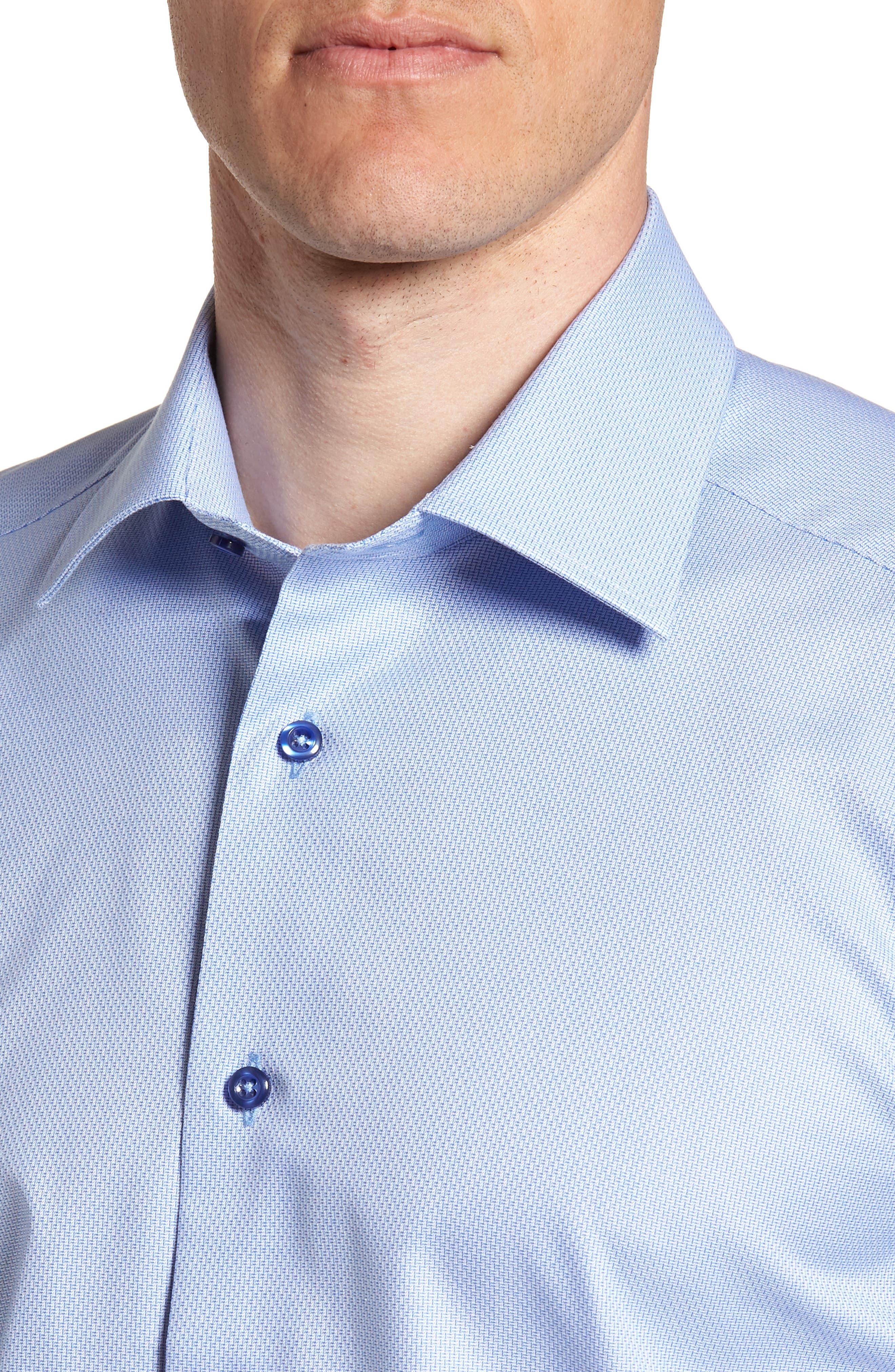 Trim Fit Solid Dress Shirt,                             Alternate thumbnail 4, color,