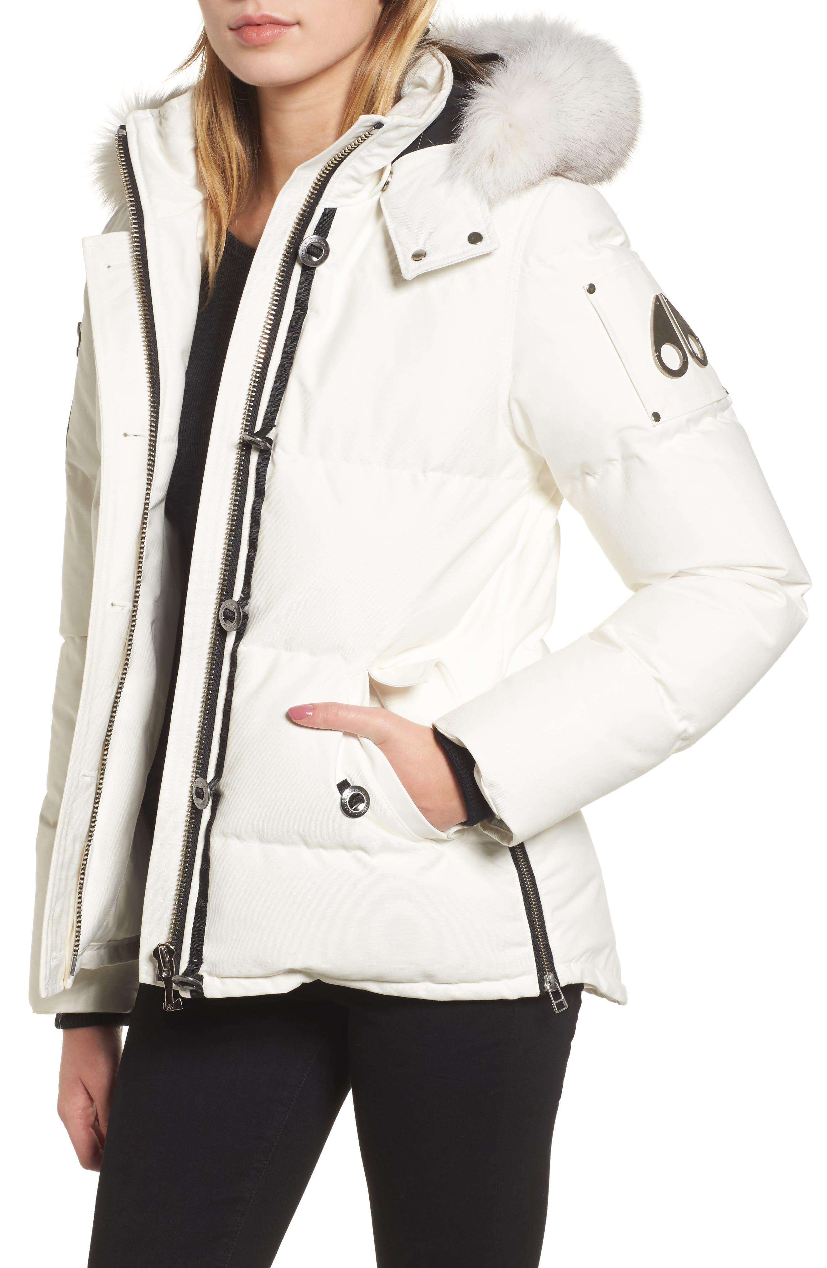 Genuine Fox Fur Trim Hooded Down Coat,                             Main thumbnail 1, color,                             SNOW WHITE/ BLACK FUR