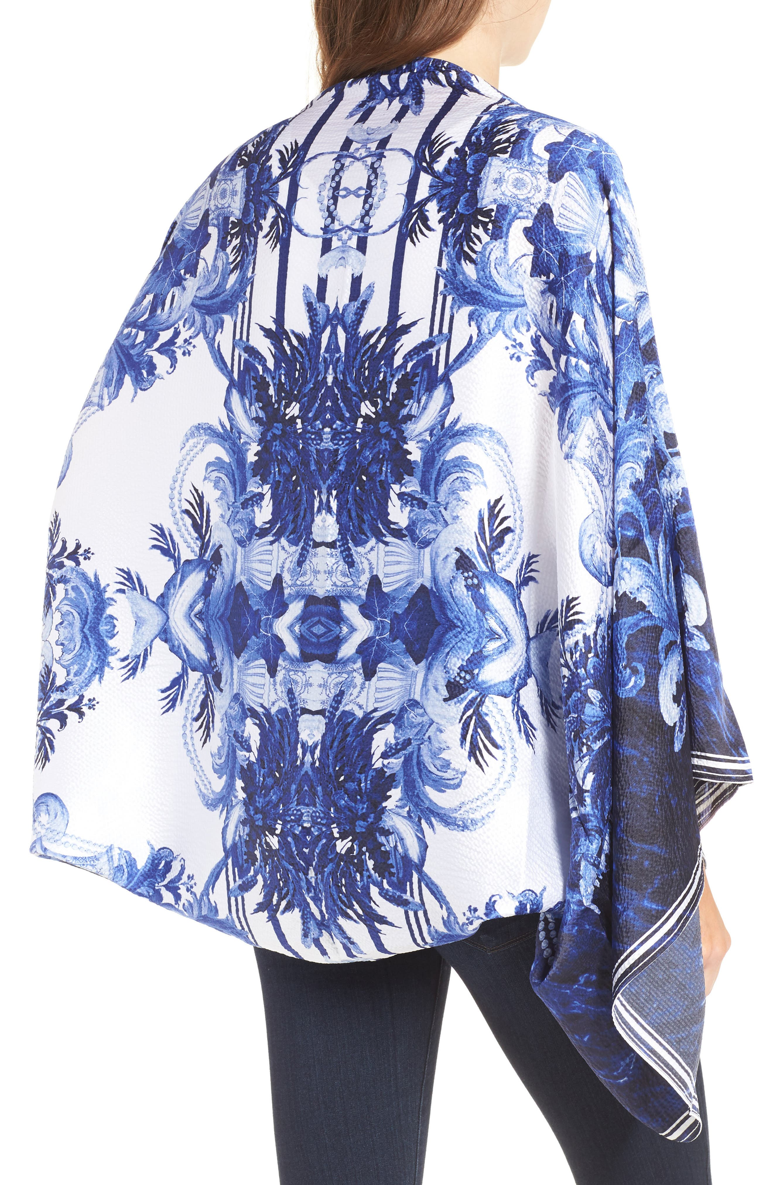 Persian Blue Silk Cape Scarf,                             Alternate thumbnail 2, color,                             410