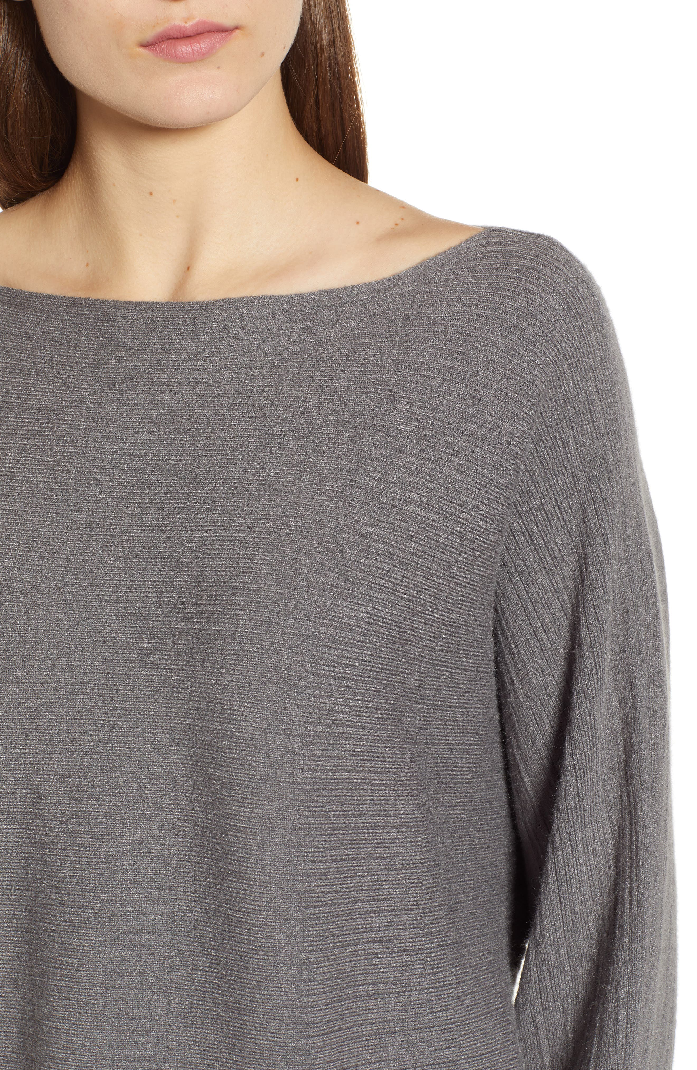 Dolman Boat Neck Sweater,                             Alternate thumbnail 4, color,                             STEEL GRAY