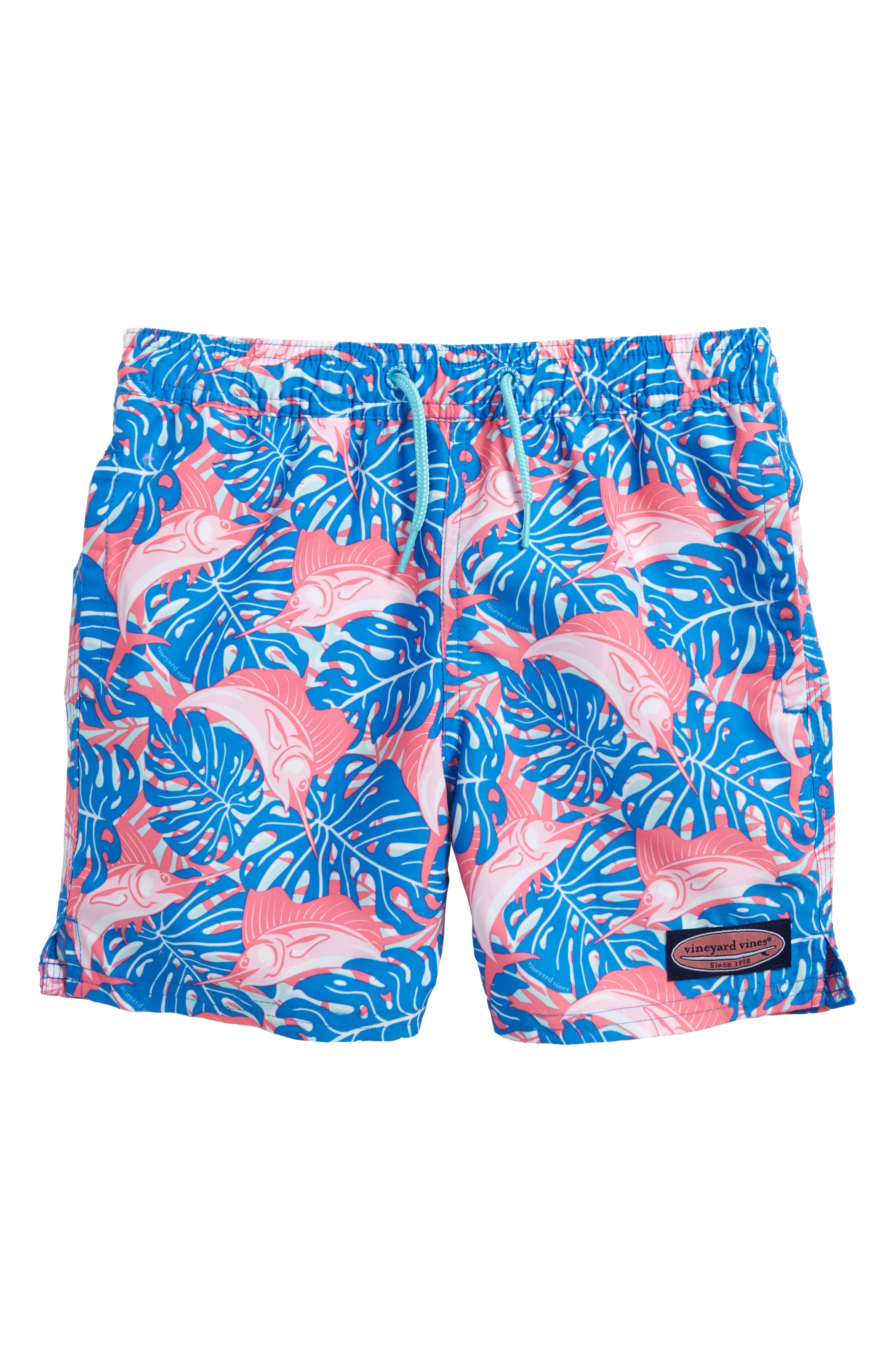 Chappy Sailfish & Leaves Swim Trunks,                             Main thumbnail 1, color,                             474