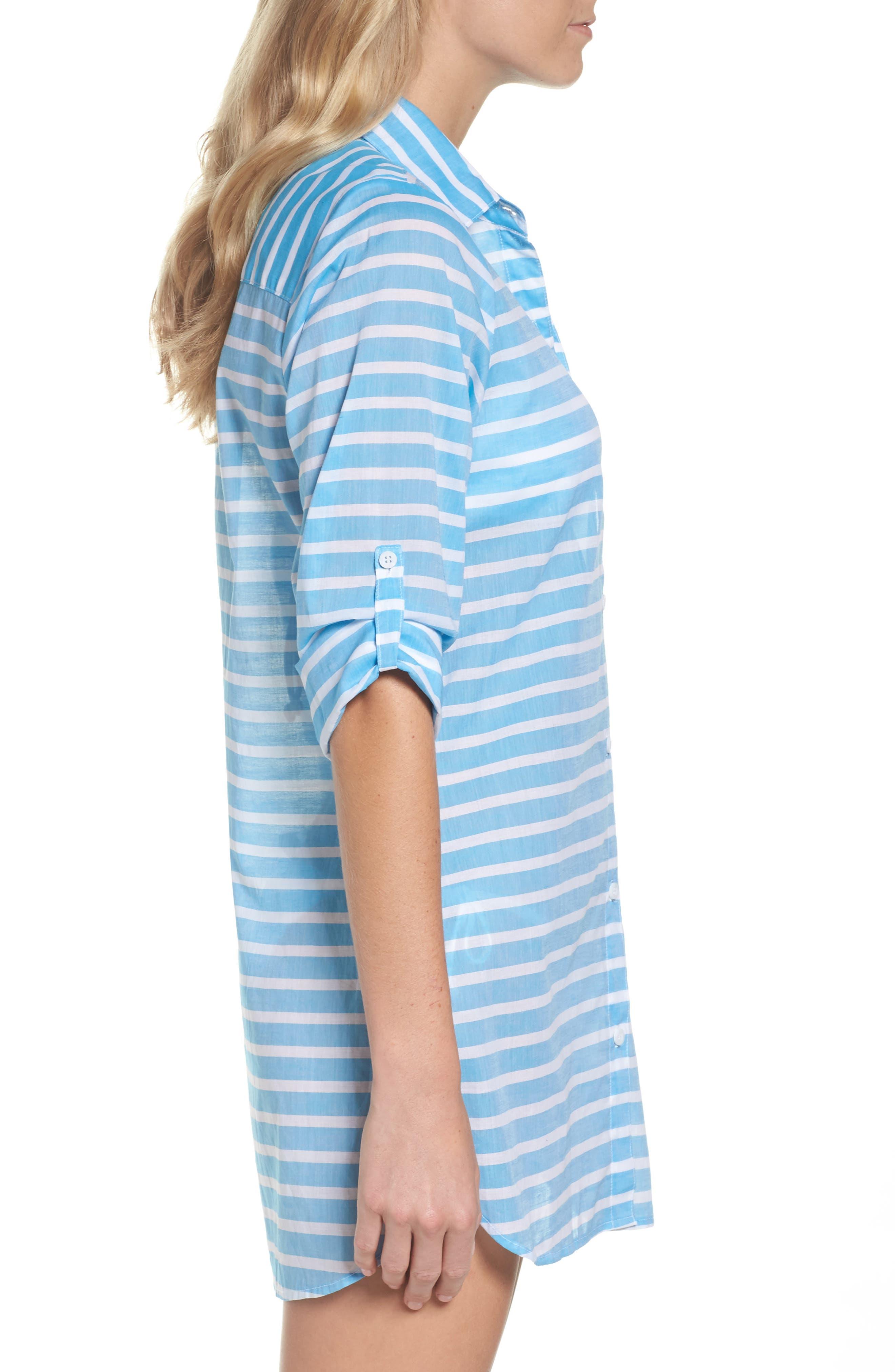 Brenton Stripe Boyfriend Shirt Cover-Up,                             Alternate thumbnail 8, color,