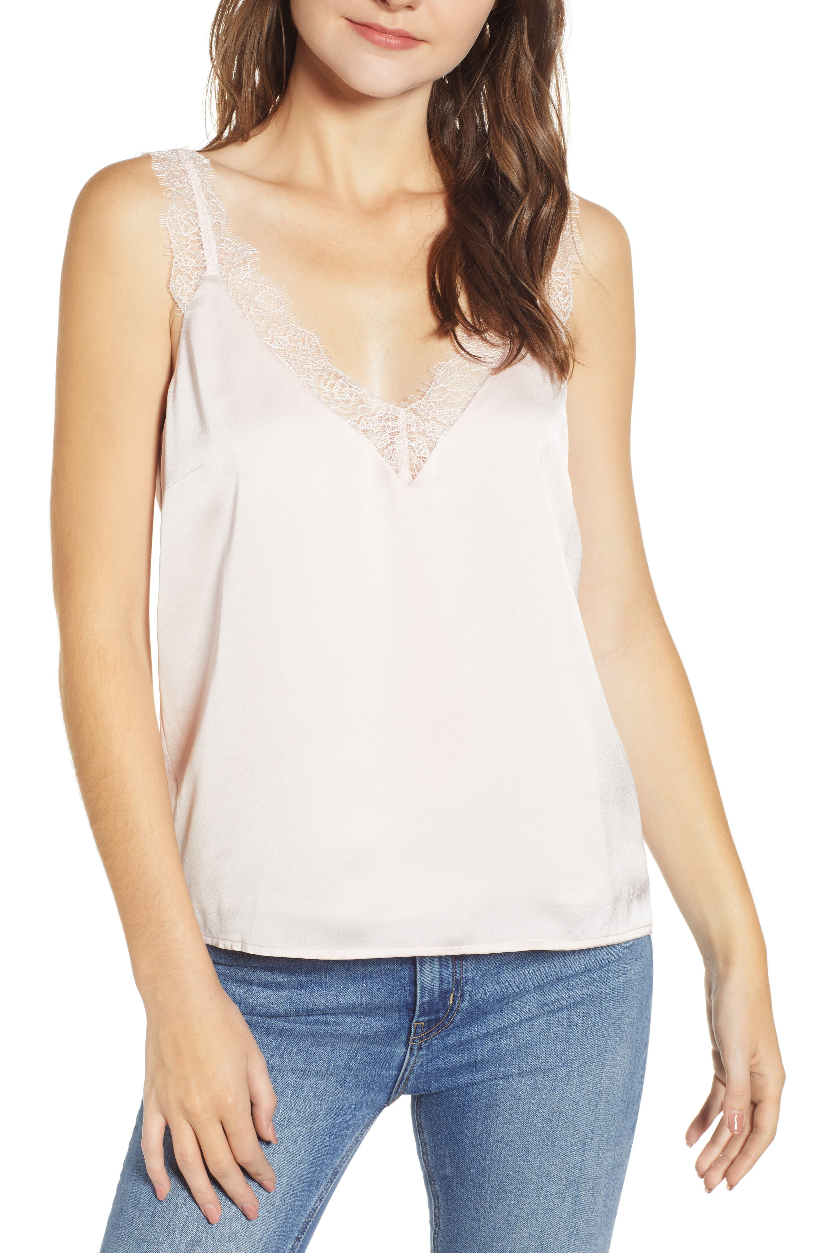 Heartloom Misty Lace Trim Camisole, Pink