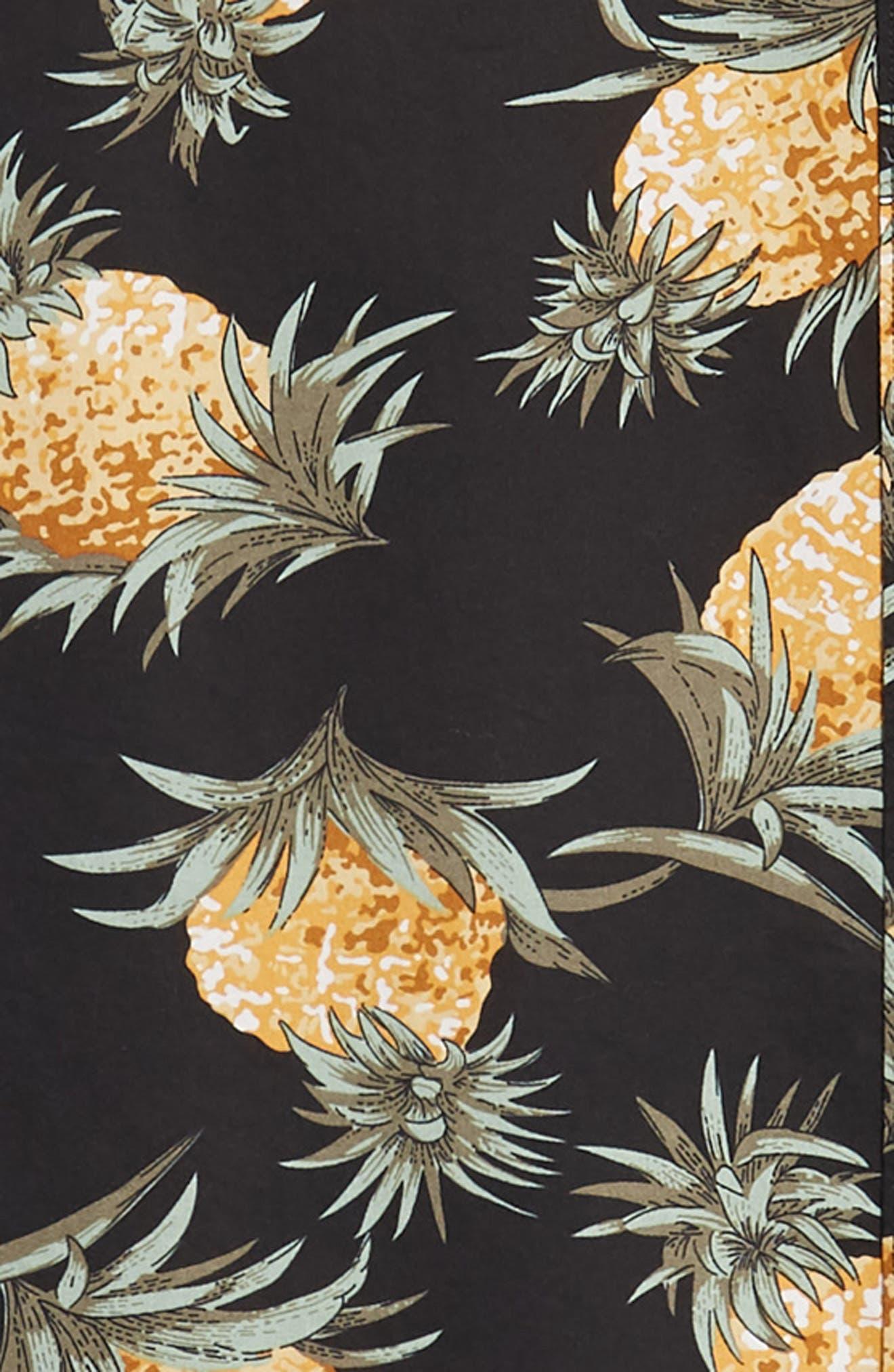 Summerweight Slim Fit Pineapple Print Sport Shirt,                             Alternate thumbnail 6, color,                             PINEAPPLES - JET BLACK