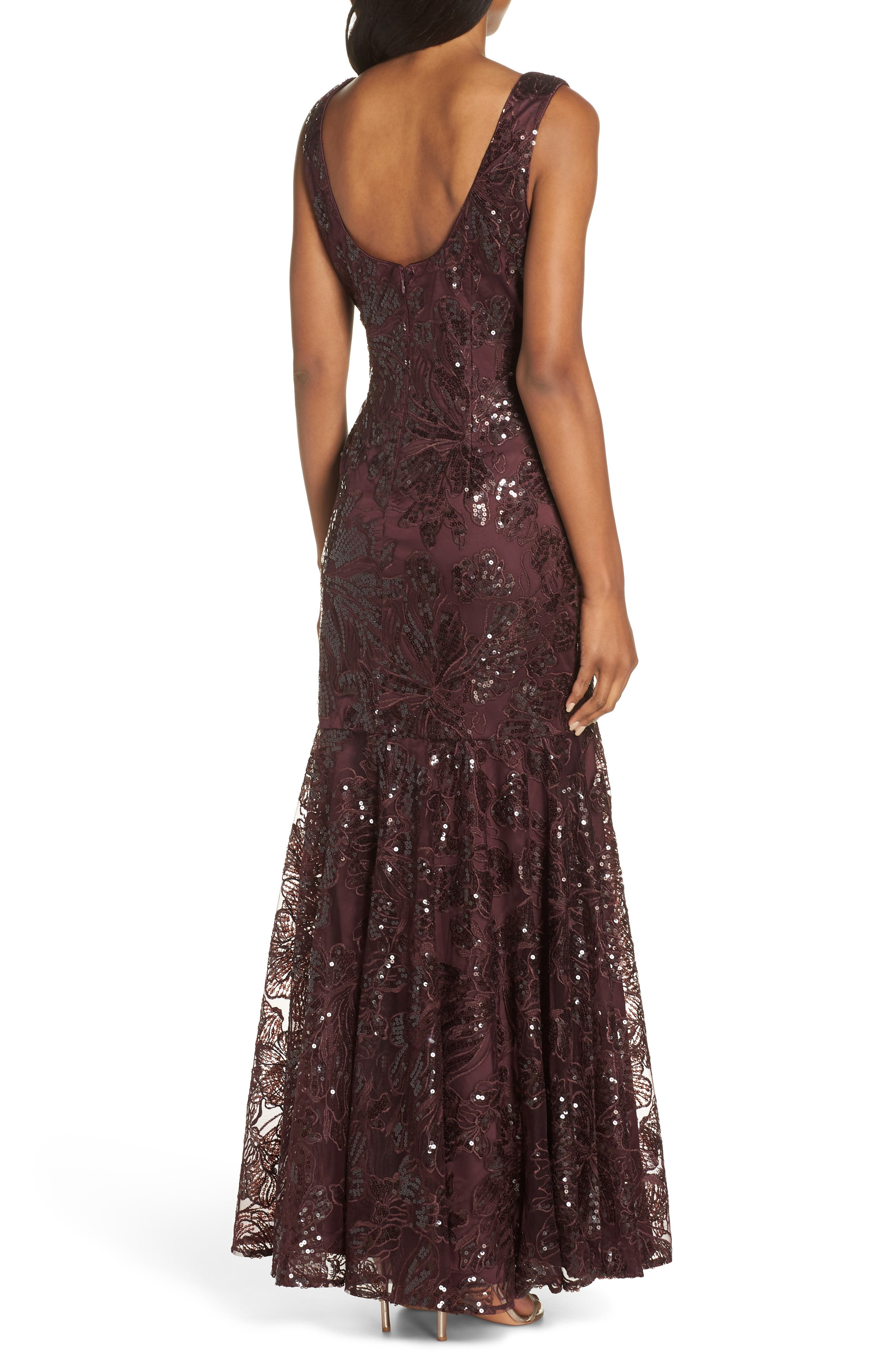 Embroidered Sequin Gown,                             Alternate thumbnail 2, color,                             BURGUNDY