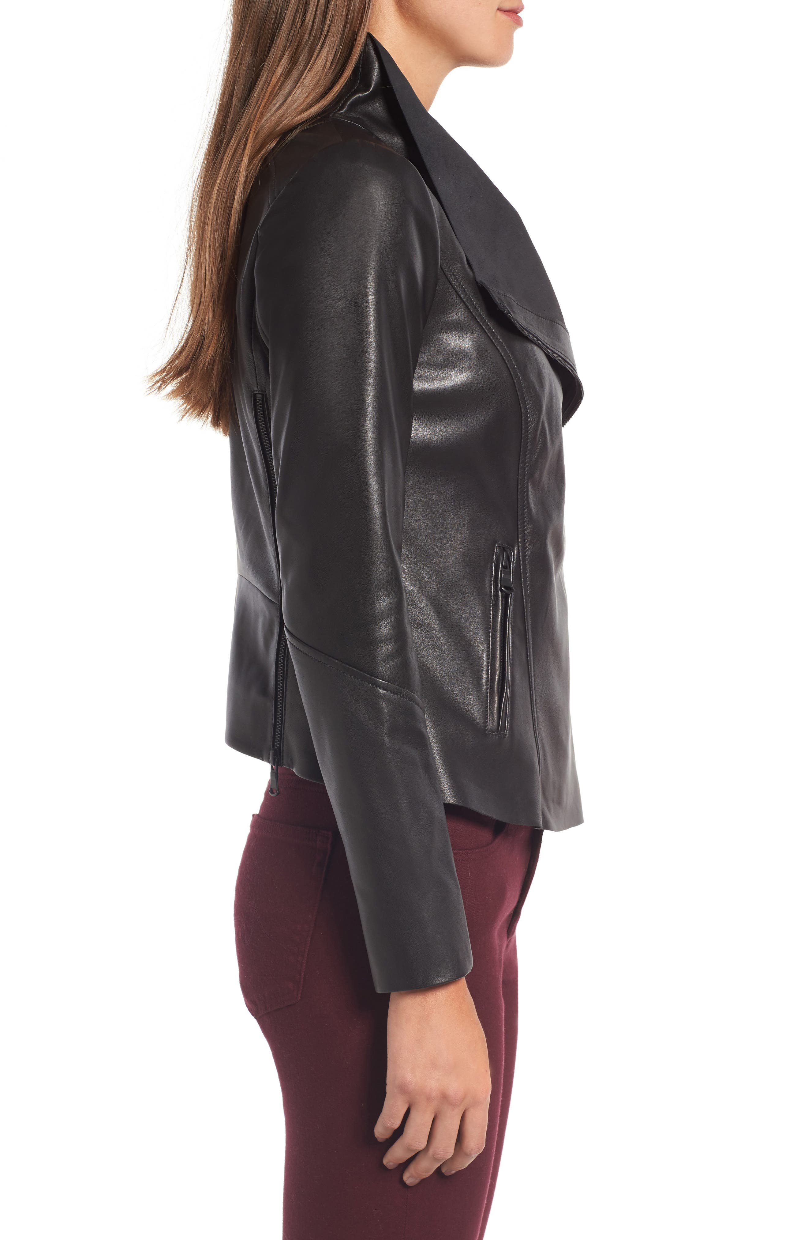 Raw Edge Leather Jacket,                             Alternate thumbnail 3, color,                             001