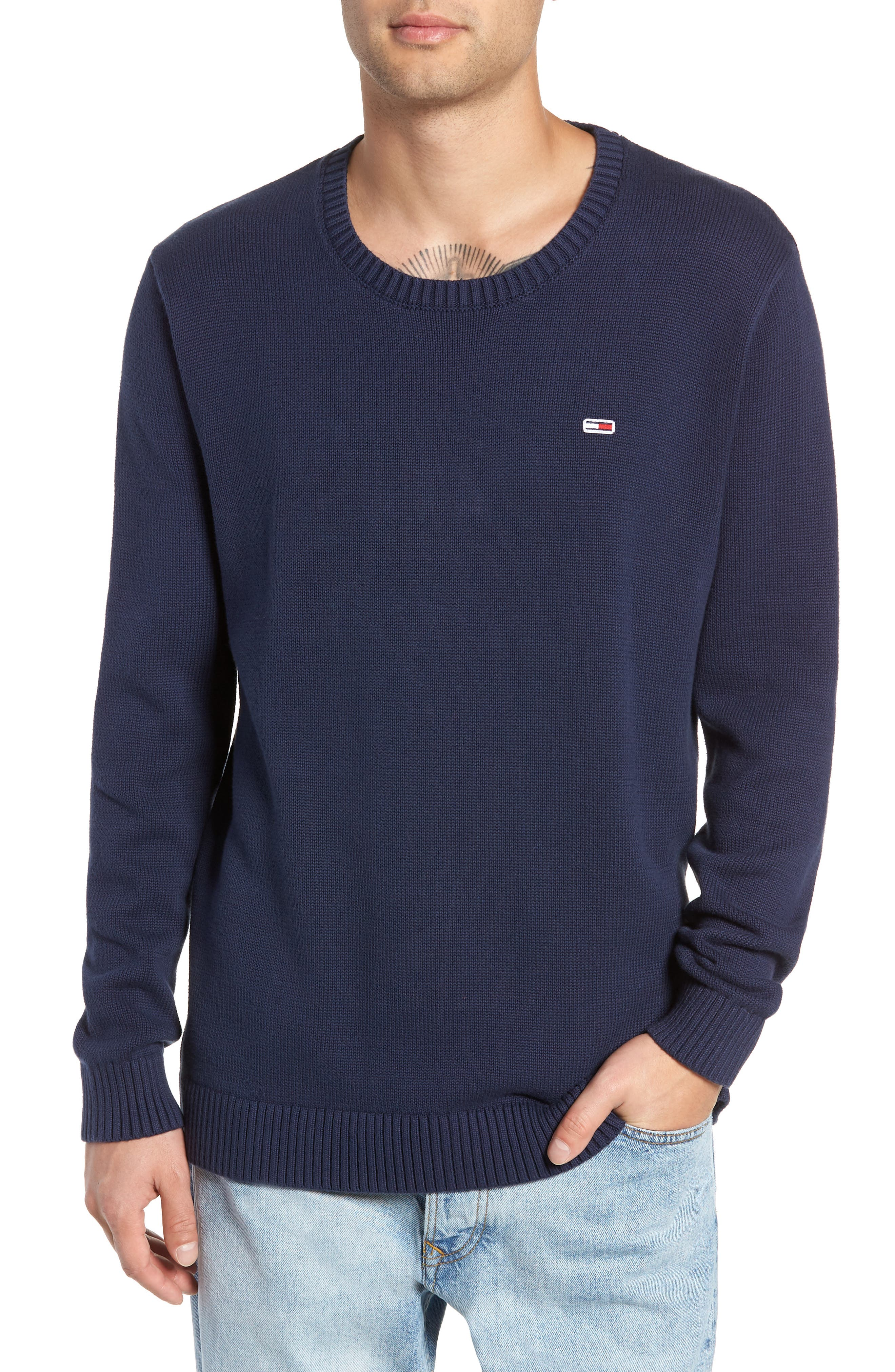 TJM Tommy Classics Sweater,                             Main thumbnail 1, color,                             BLACK IRIS