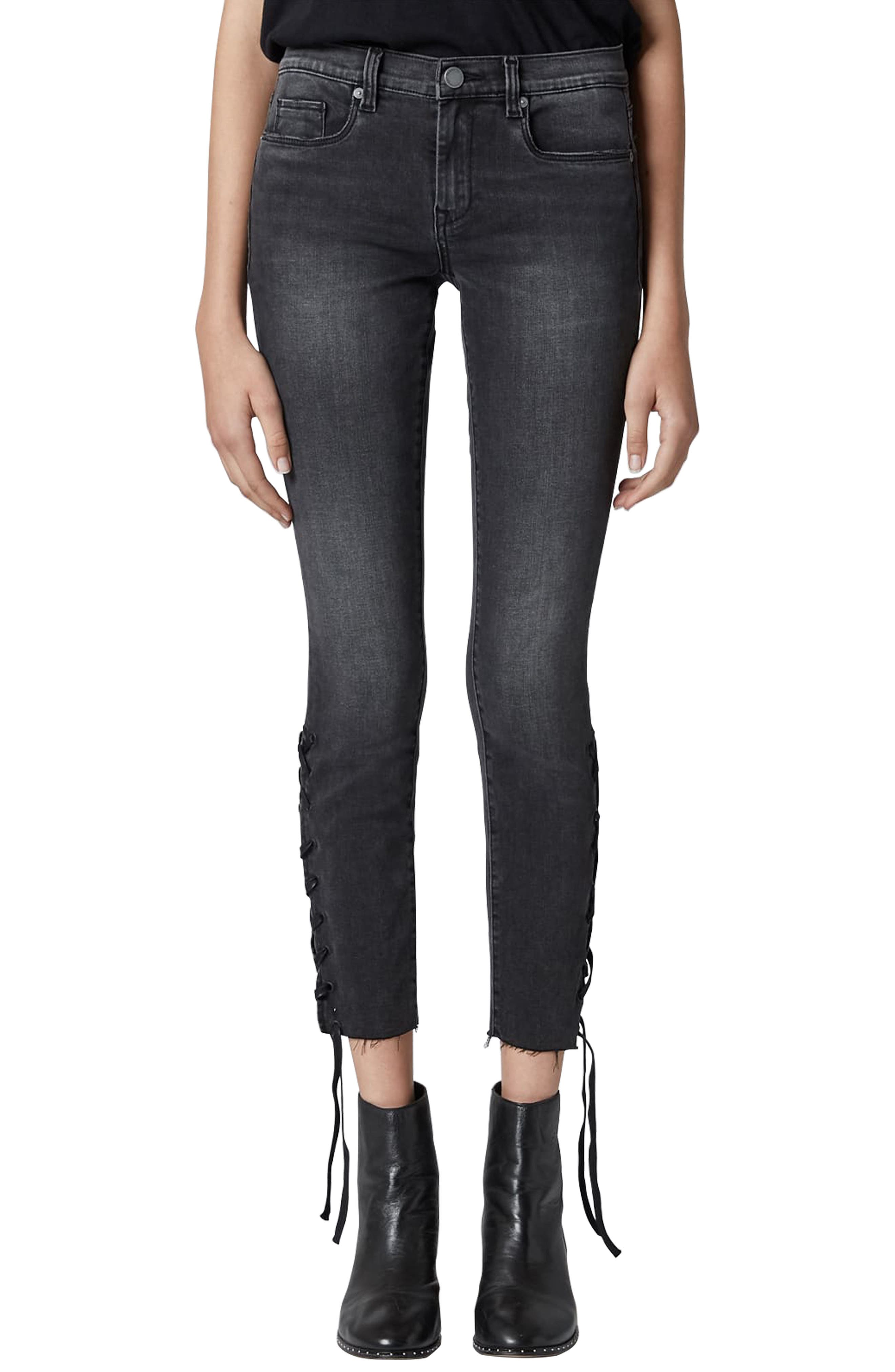 The Reade Lace Up Hem Crop Skinny Jeans,                             Main thumbnail 1, color,                             ANTIDOTE
