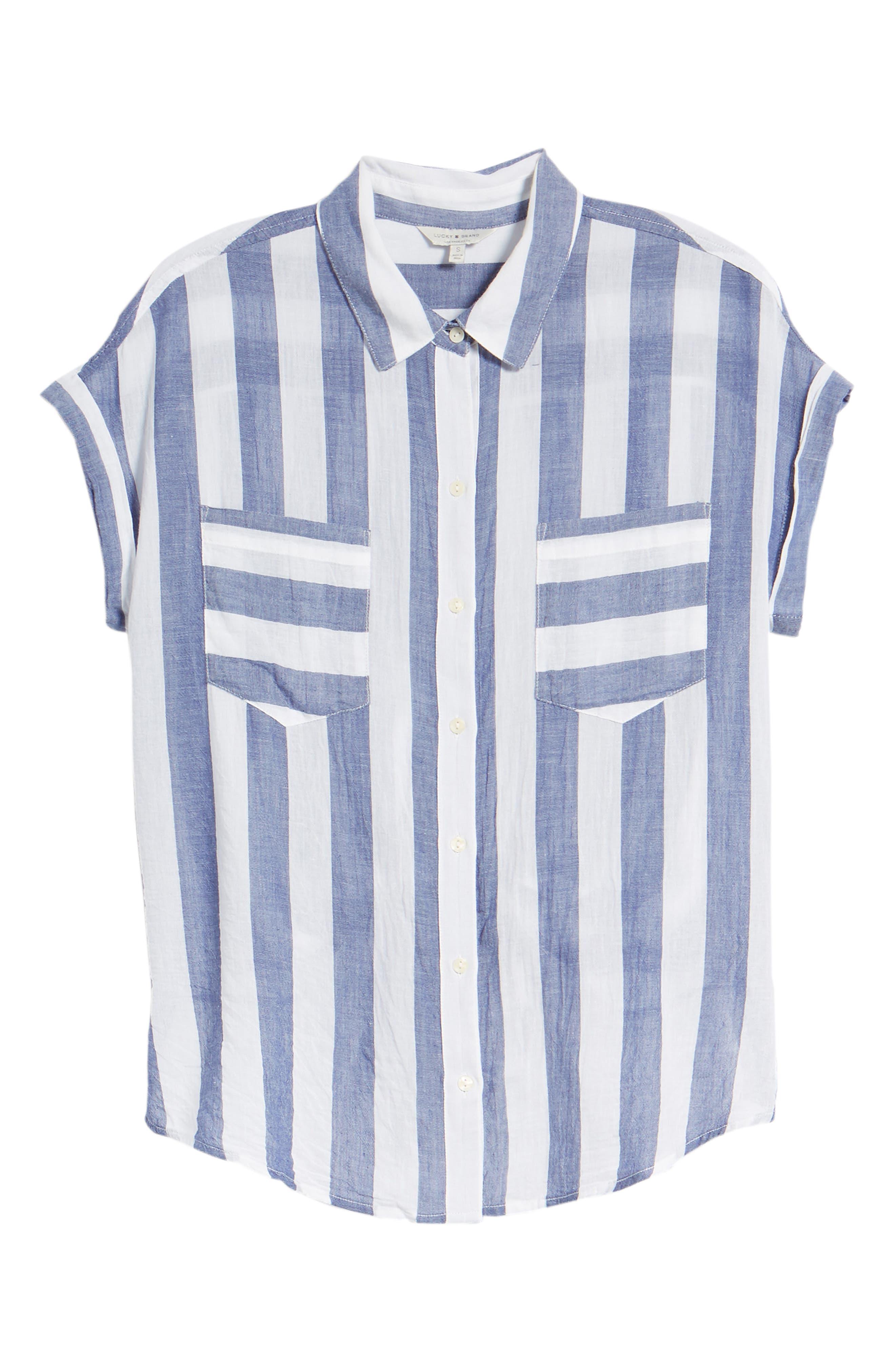 Stripe Tie Back Crinkle Cotton Top,                             Alternate thumbnail 7, color,                             460