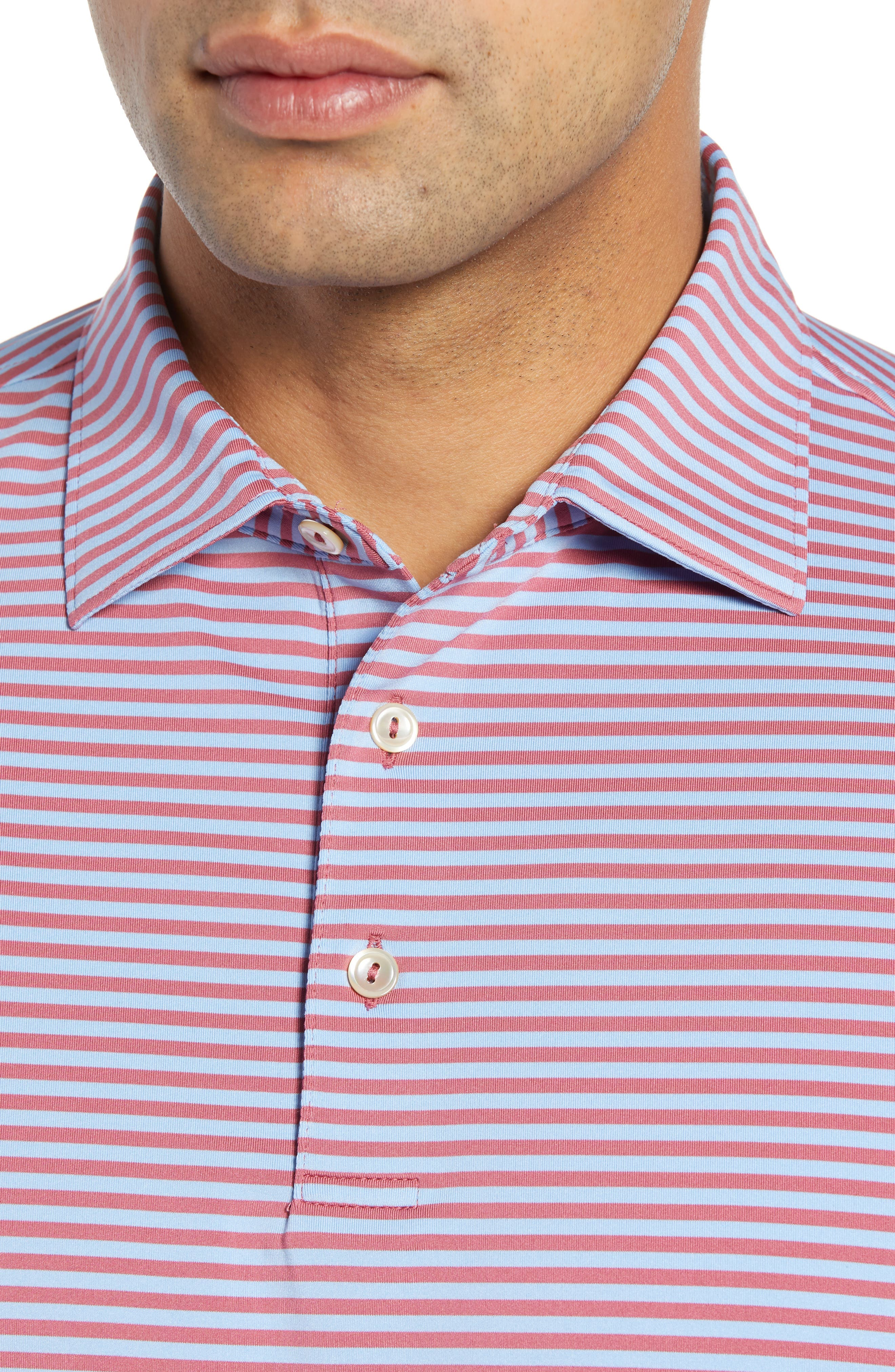 Competition Stripe Performance Polo,                             Alternate thumbnail 4, color,                             RADISH/ COTTAGE BLUE