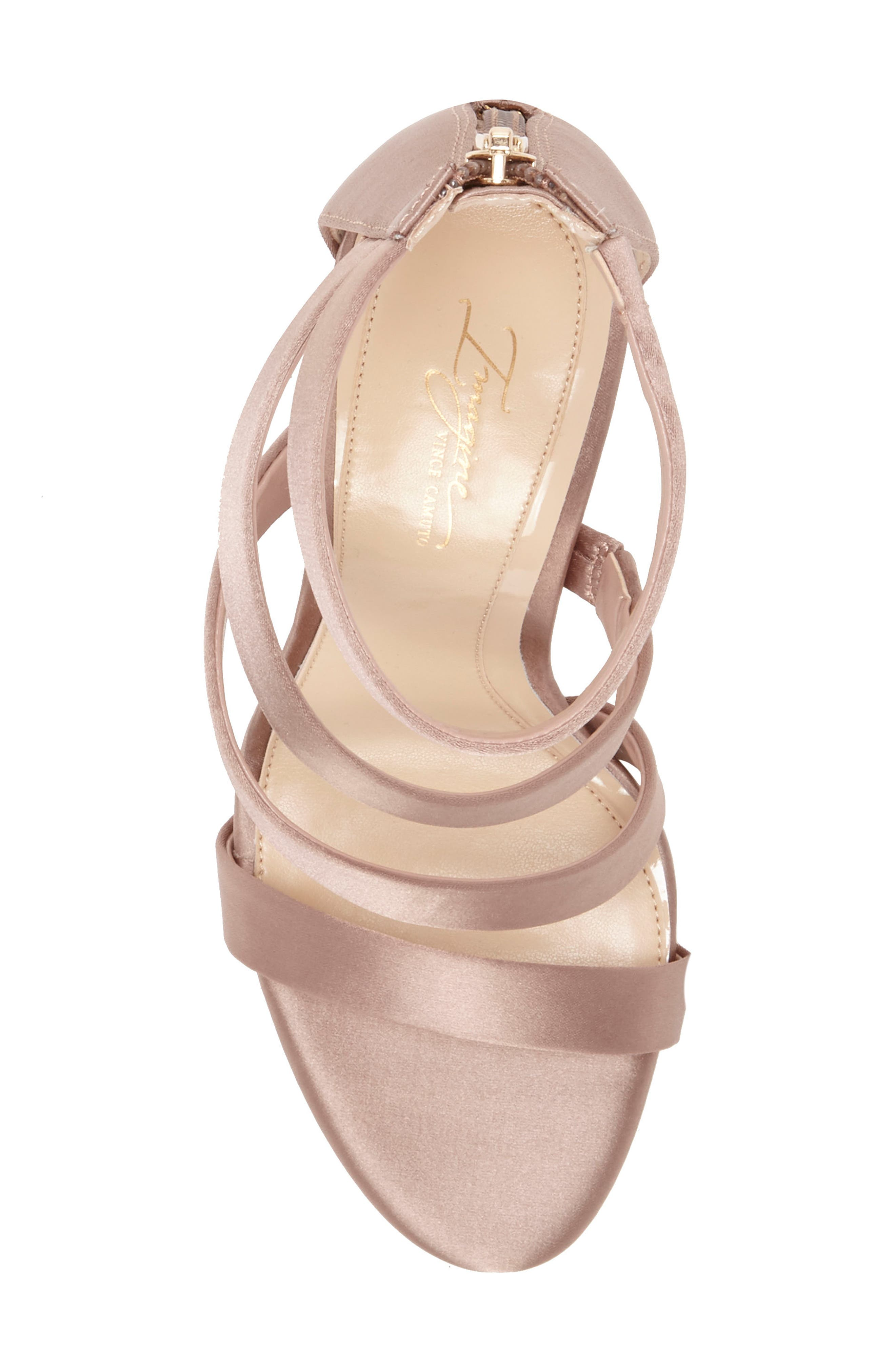 Imagine Vince Camuto Dalles Tall Strappy Sandal,                             Alternate thumbnail 5, color,                             WARM TAUPE SATIN
