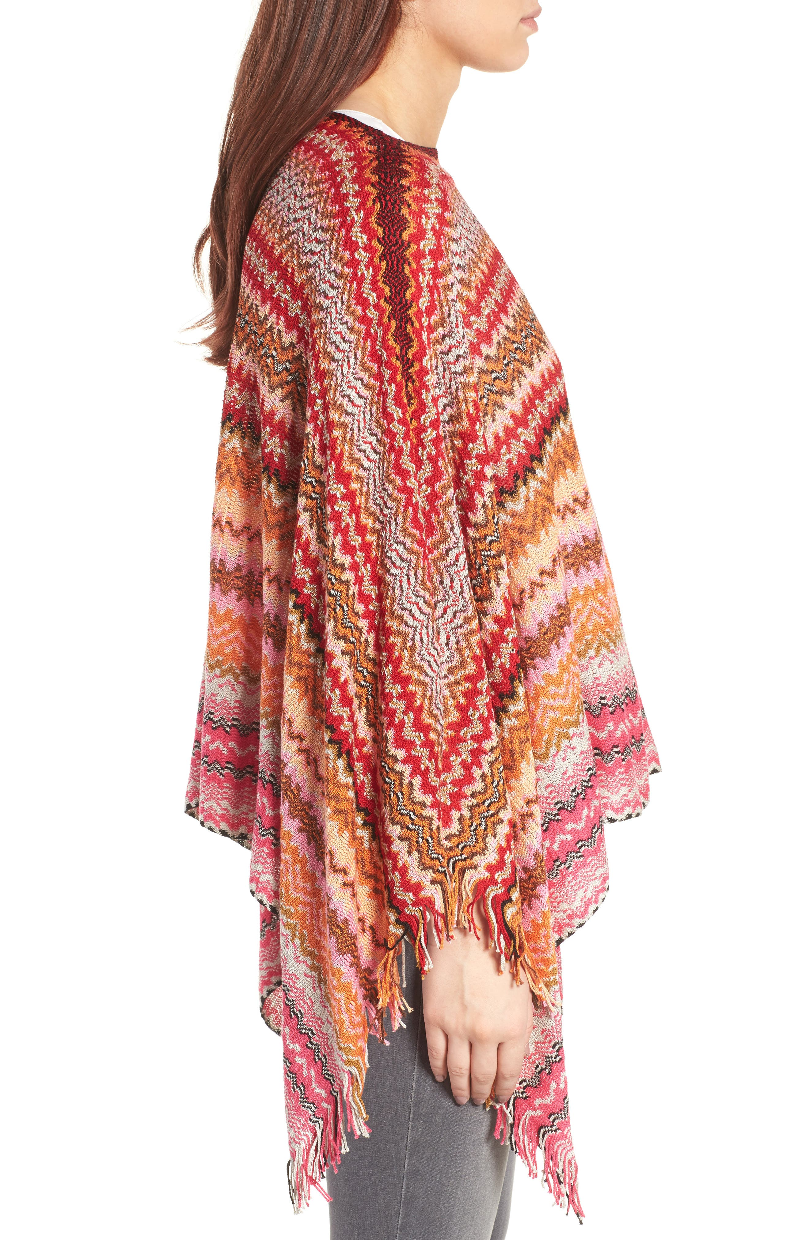 Fringe Poncho,                             Alternate thumbnail 3, color,                             PINK/ RED MULTI