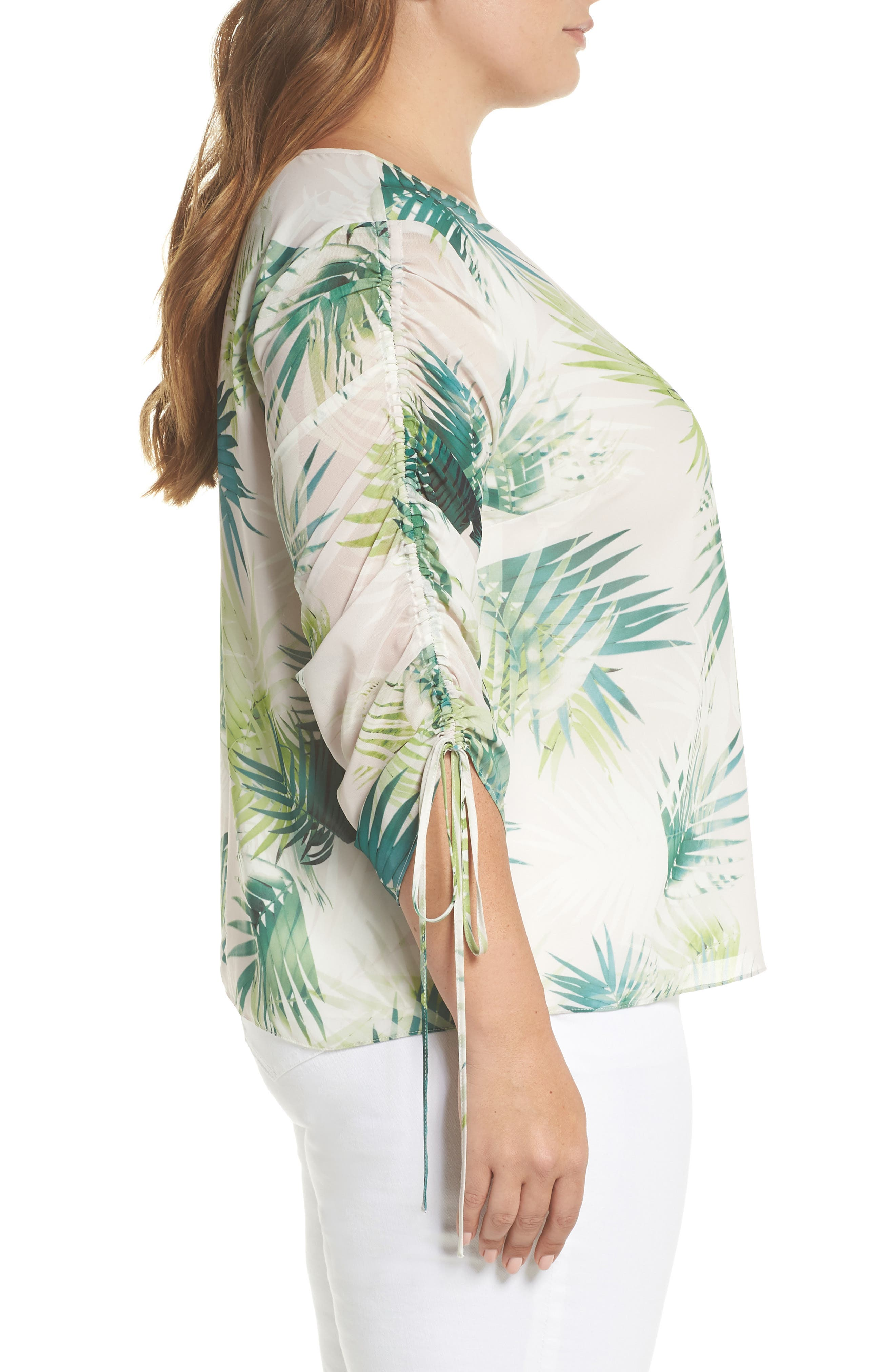 Drawstring Sleeve Sunlit Palm Print Top,                             Alternate thumbnail 3, color,                             336